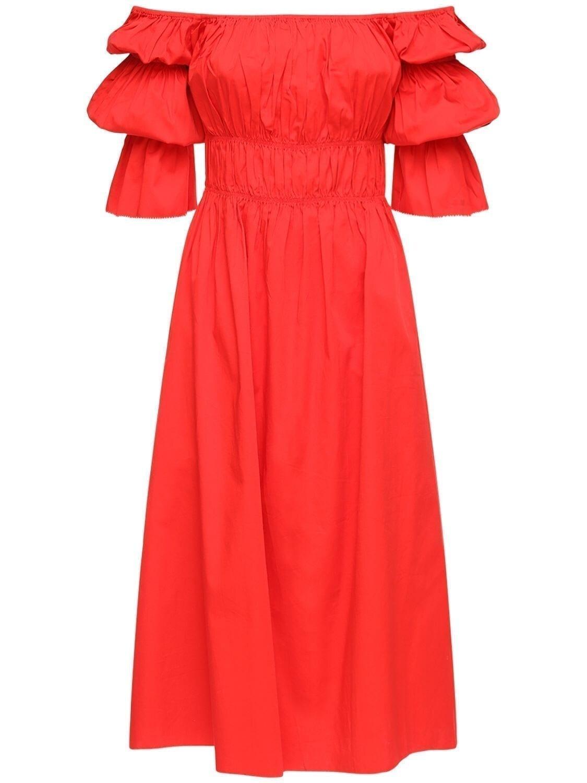 CULT GAIA Stella Ruffled Stretch Cotton Midi Dress