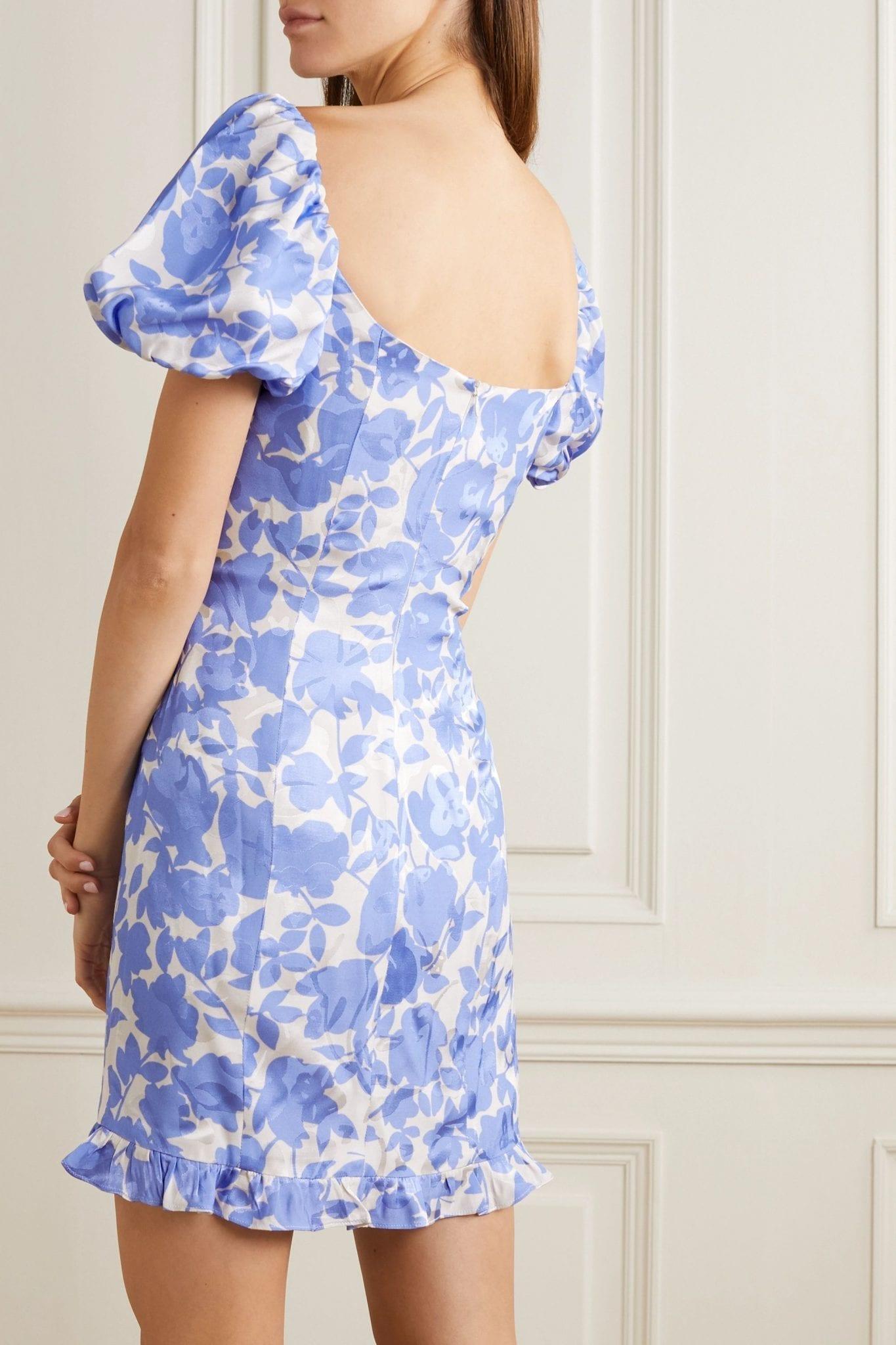 DE LA VALI Koko Floral-print Satin-jacquard Mini Dress