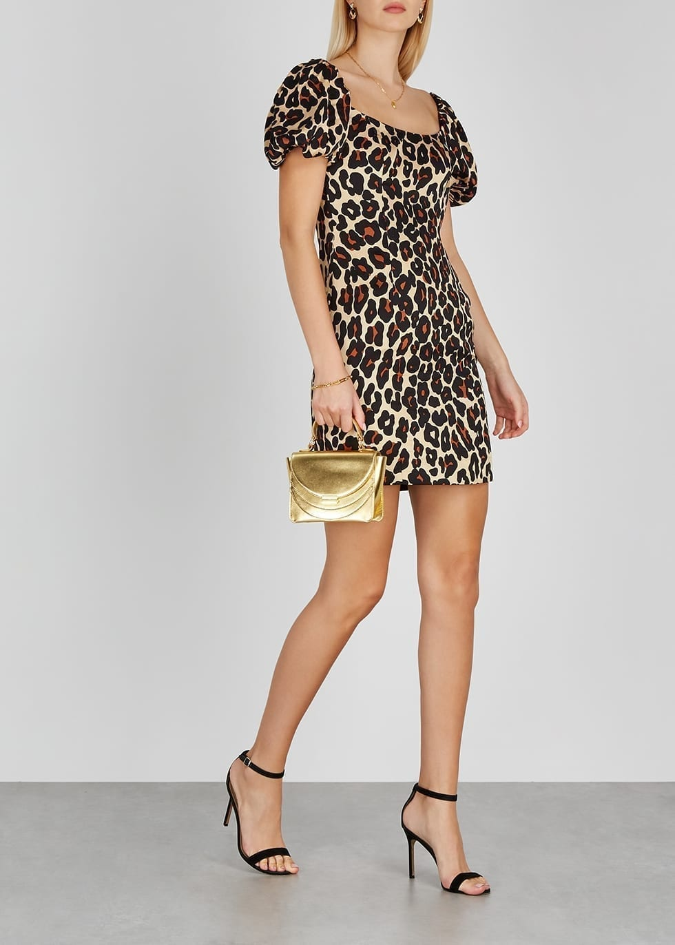 DE LA VALI Koko Leopard-print Satin Mini Dress