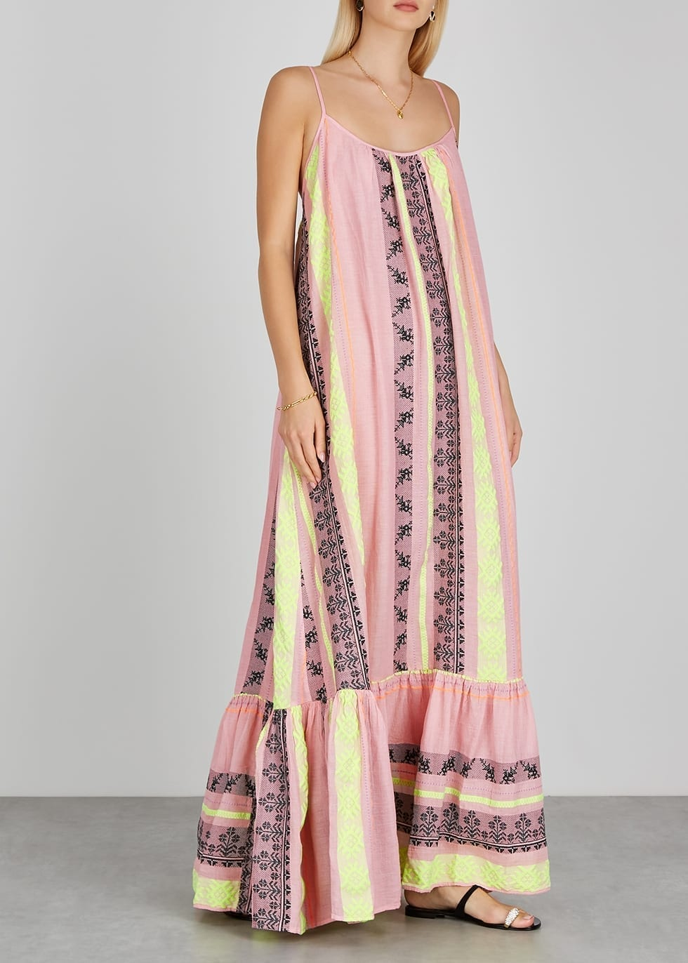 DEVOTION Zakar Embroidered Cotton-blend Maxi Dress