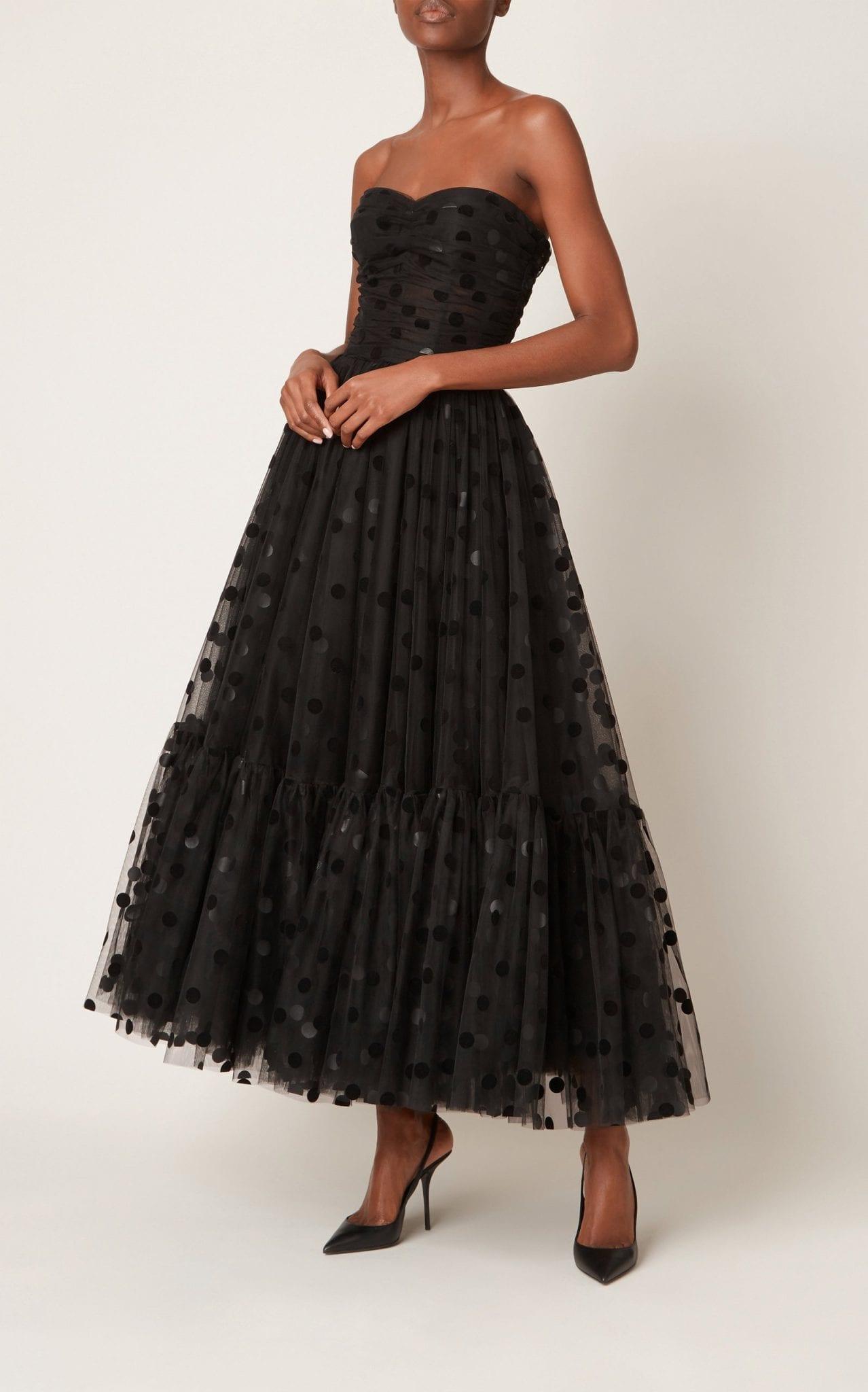 DOLCE & GABBANA Flocked Polka-Dot Tulle Strapless Cocktail Dress
