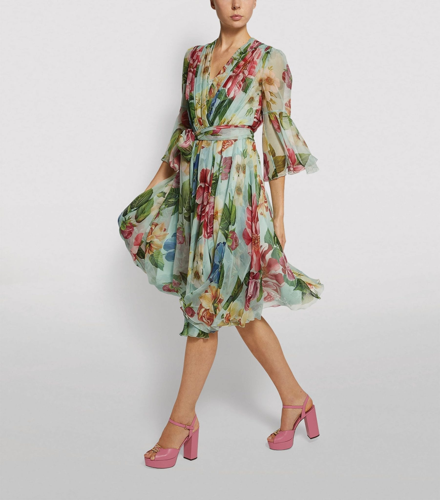 DOLCE & GABBANA Silk Floral Wrap Dress