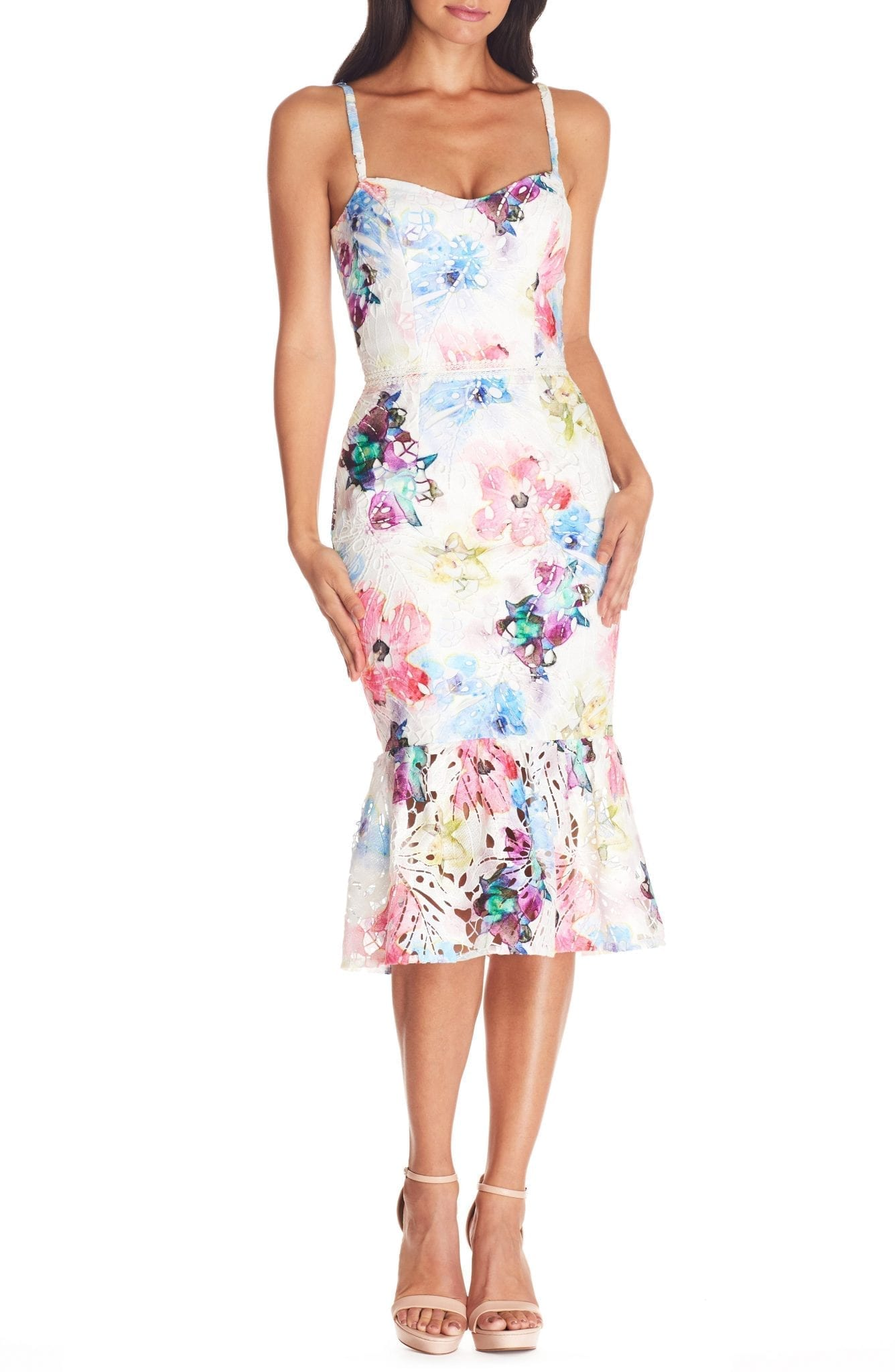 DRESS THE POPULATION Joelle Floral Print Lace Sheath Dress