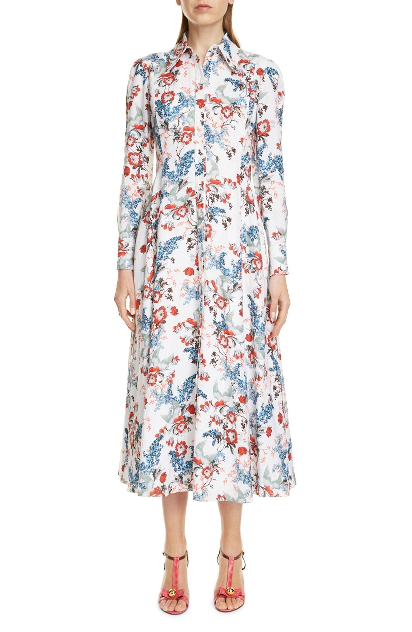 ERDEM Josianne Long Sleeve Fit & Flare Maxi Shirt Dress