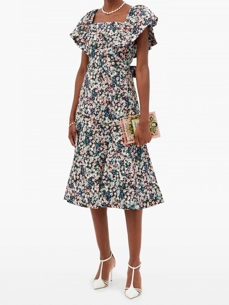 ERDEM Maudie Meadow Park-print Cotton Midi Dress