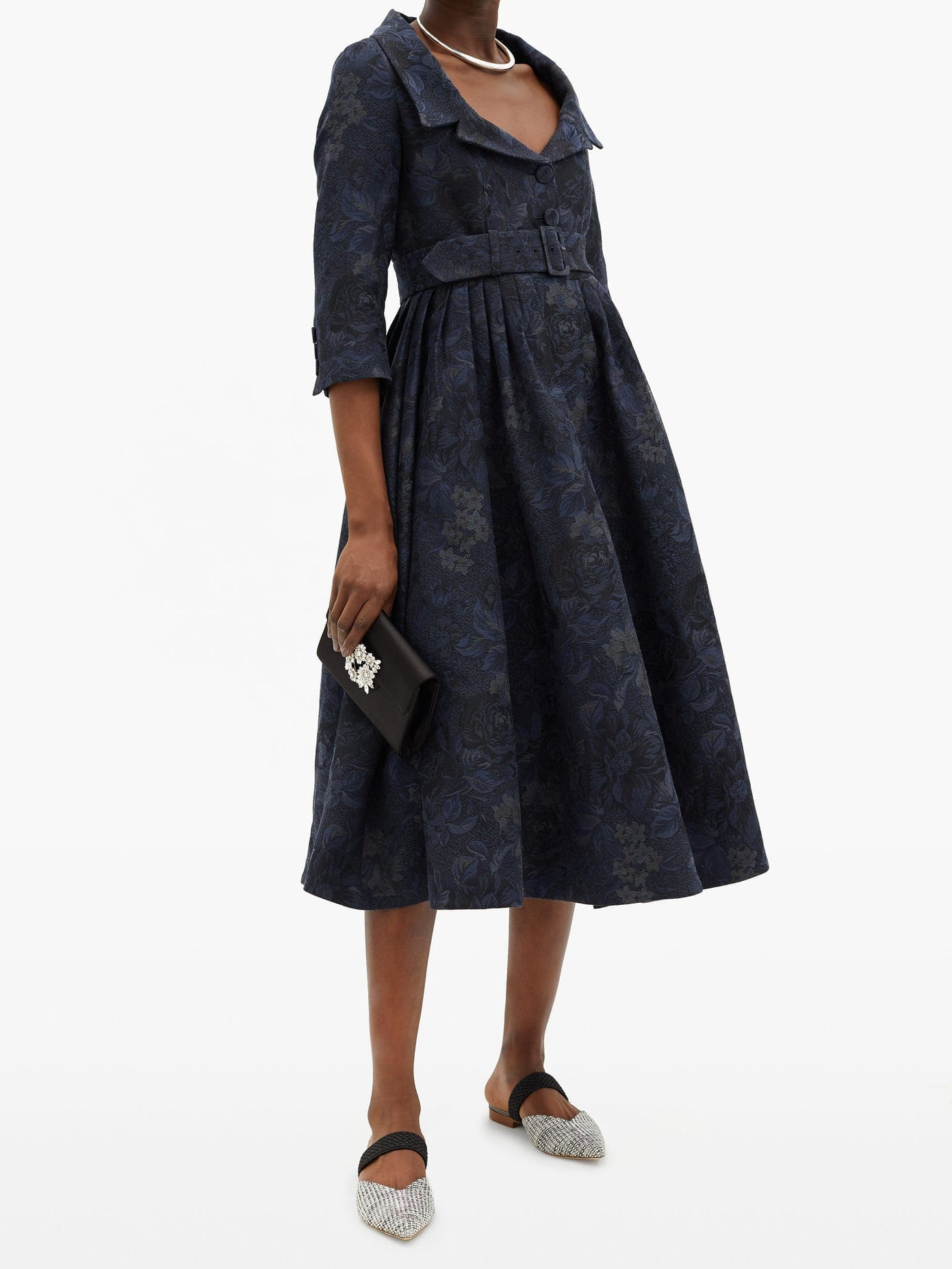 ERDEM Meril Cotton-blend Floral-jacquard Midi Dress