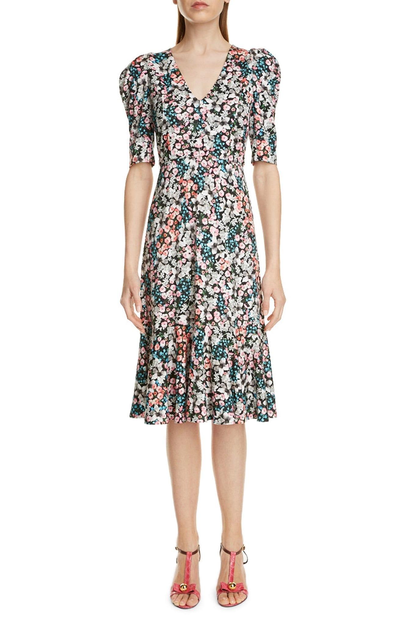 ERDEM Ottavia Floral Print Flounce Hem Dress