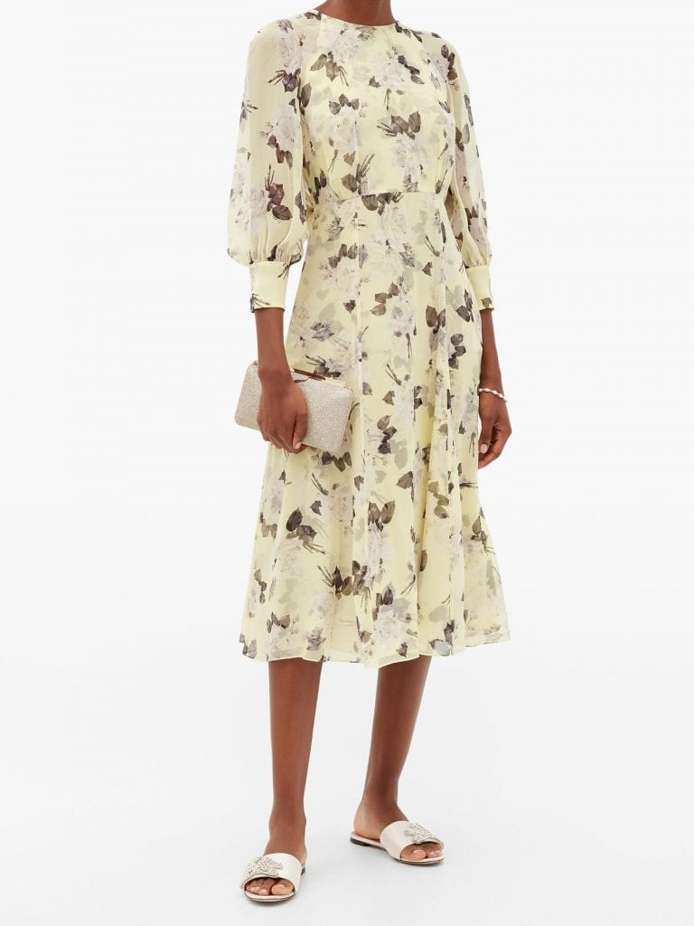 ERDEM Yusra Rosemont Wallpaper-print Silk Dress