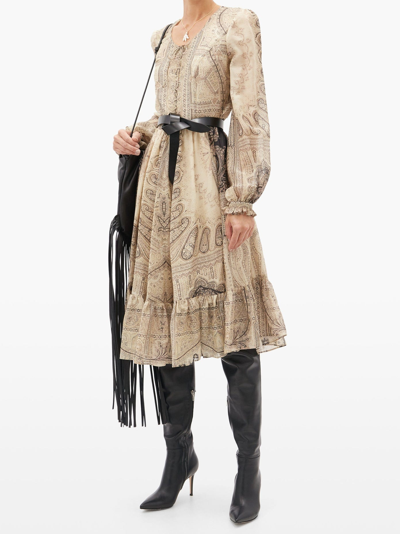ETRO Lace-up Paisley-print Silk-blend Dress