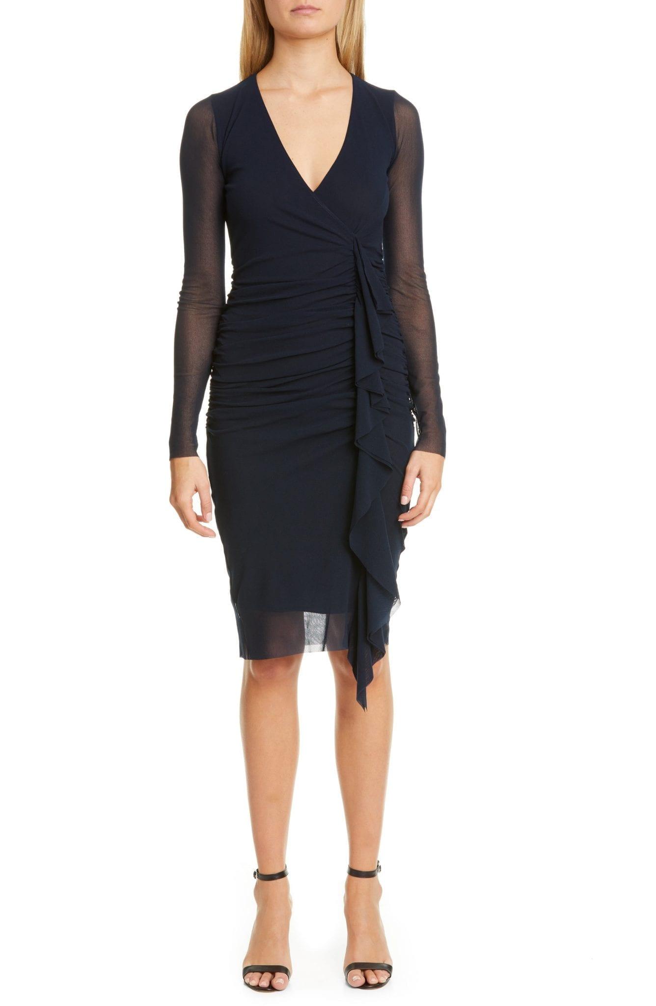 FUZZI Ruched Ruffle Long Sleeve Dress