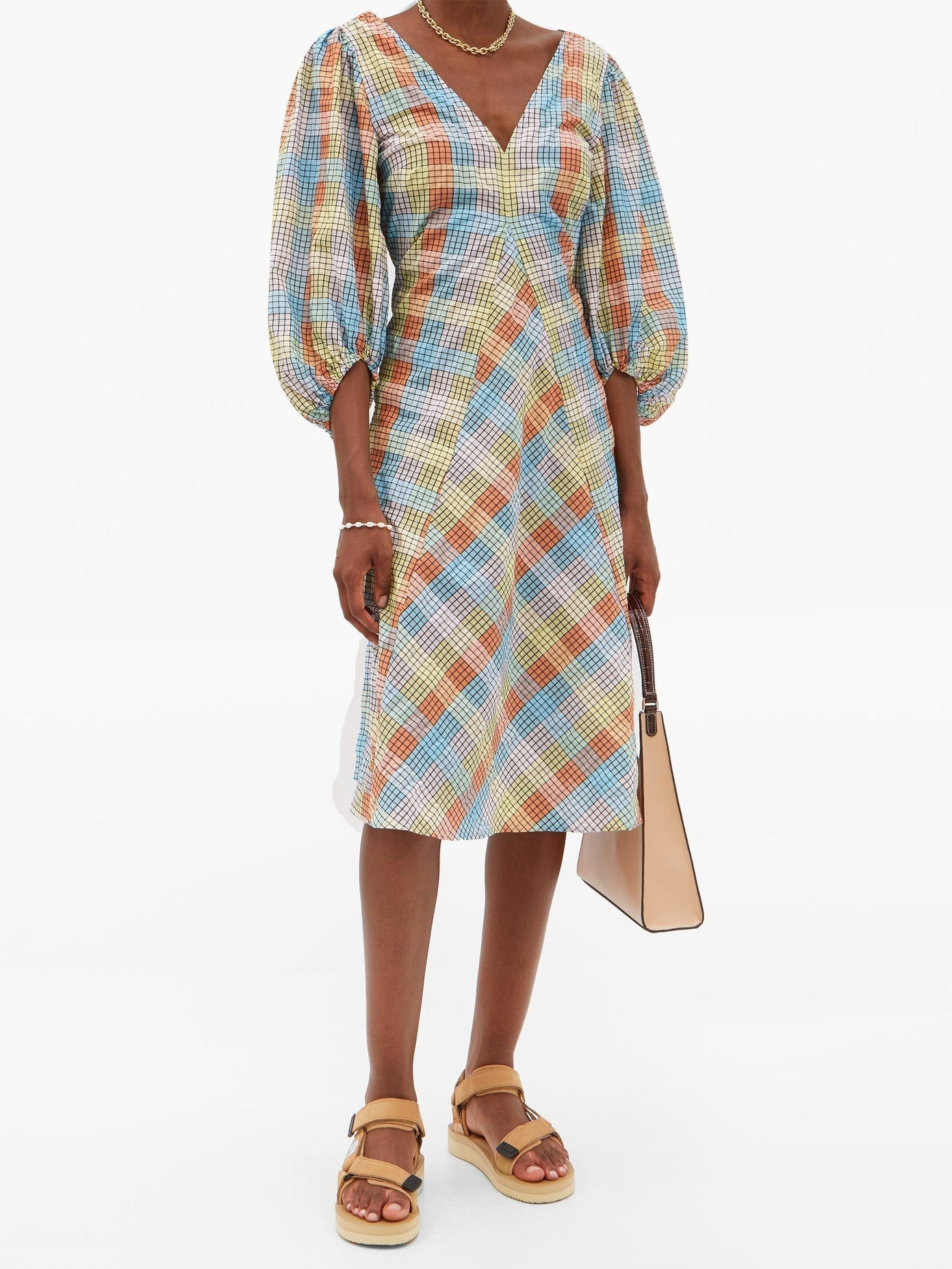 GANNI Checked Cotton-blend Seersucker Tent Dress
