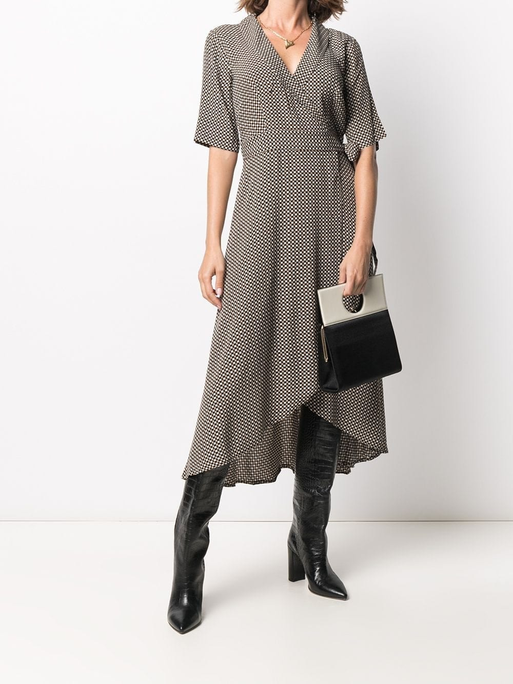 GANNI Checked Wrap Midi Dress