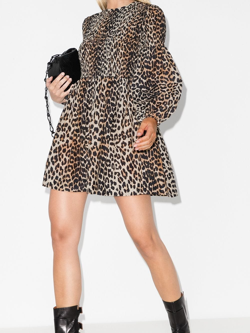 GANNI Leopard Print Balloon Sleeve Smock Dress
