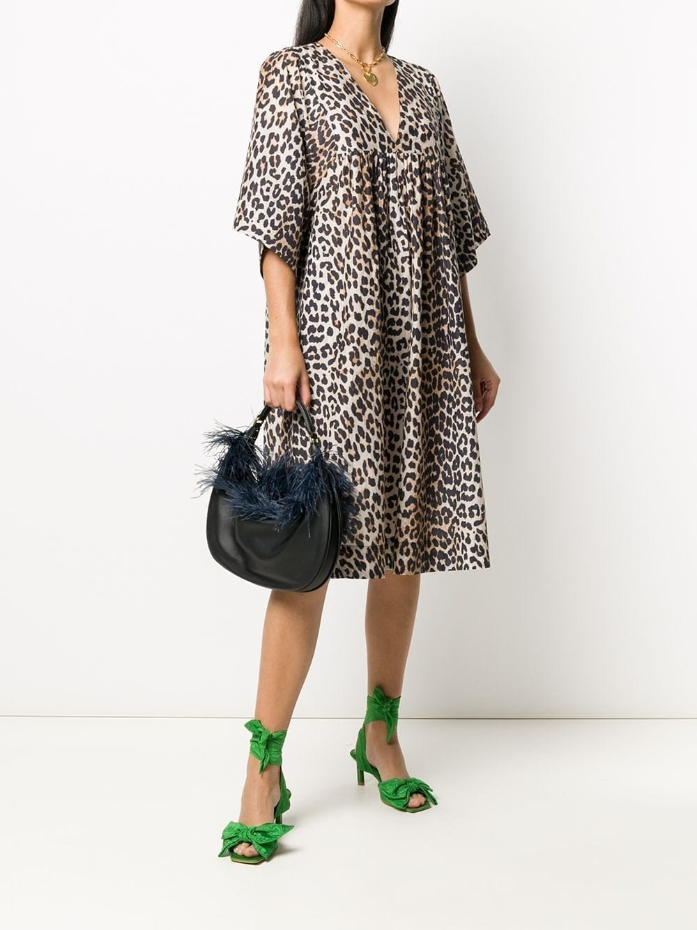 GANNI Leopard Print Smock Dress