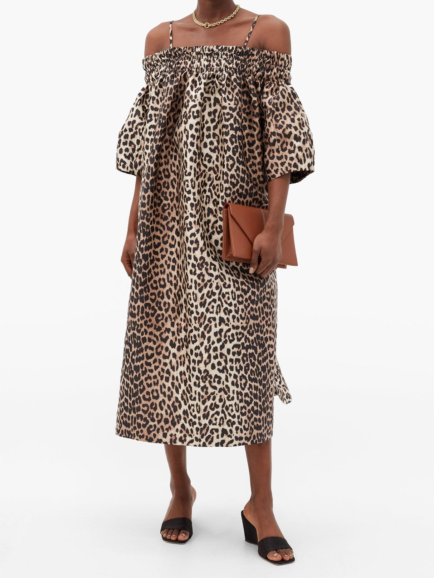 GANNI Off-the-shoulder Leopard-jacquard Midi Dress