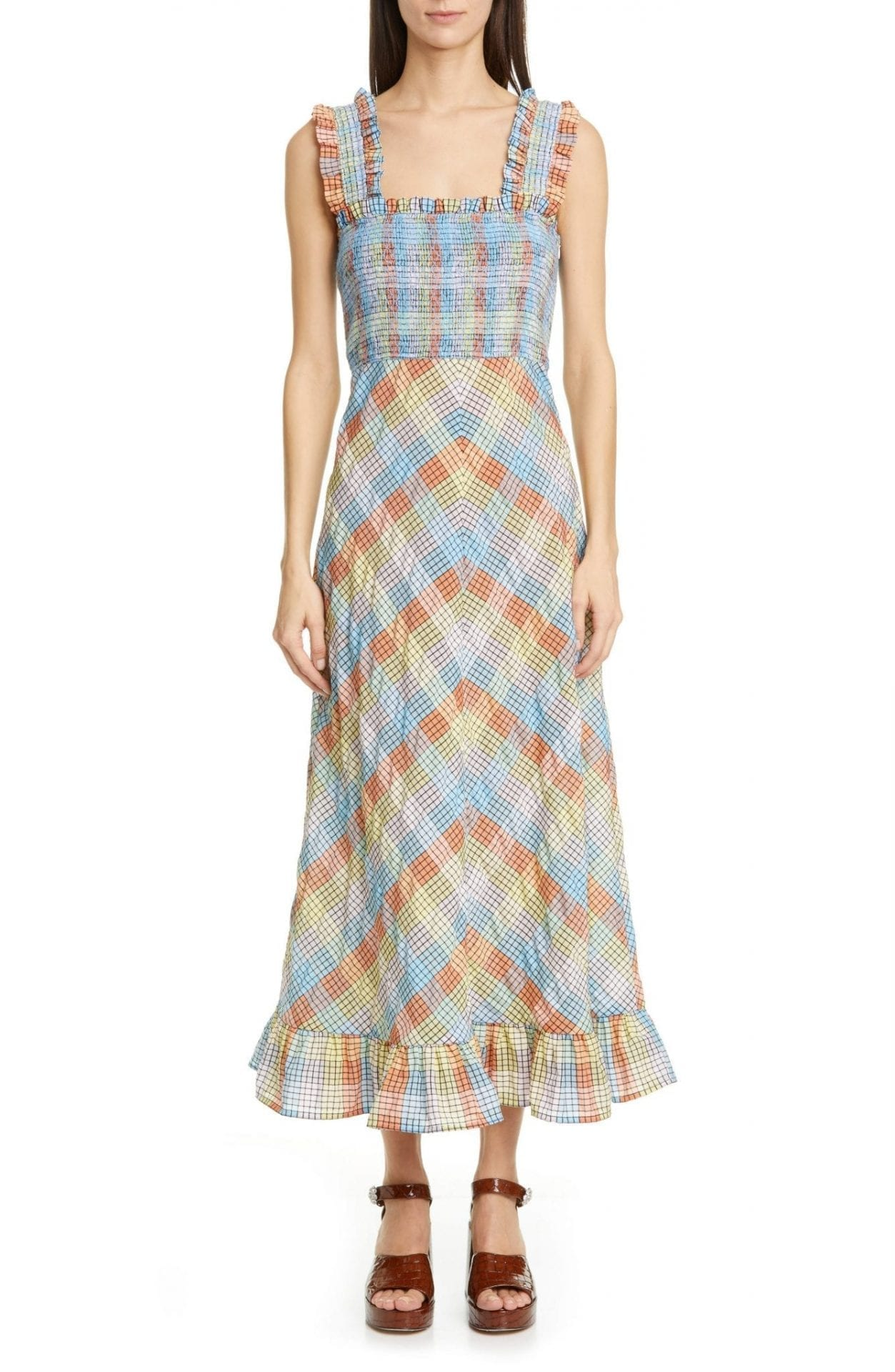 GANNI Plaid Smocked Seersucker Midi Sun Dress