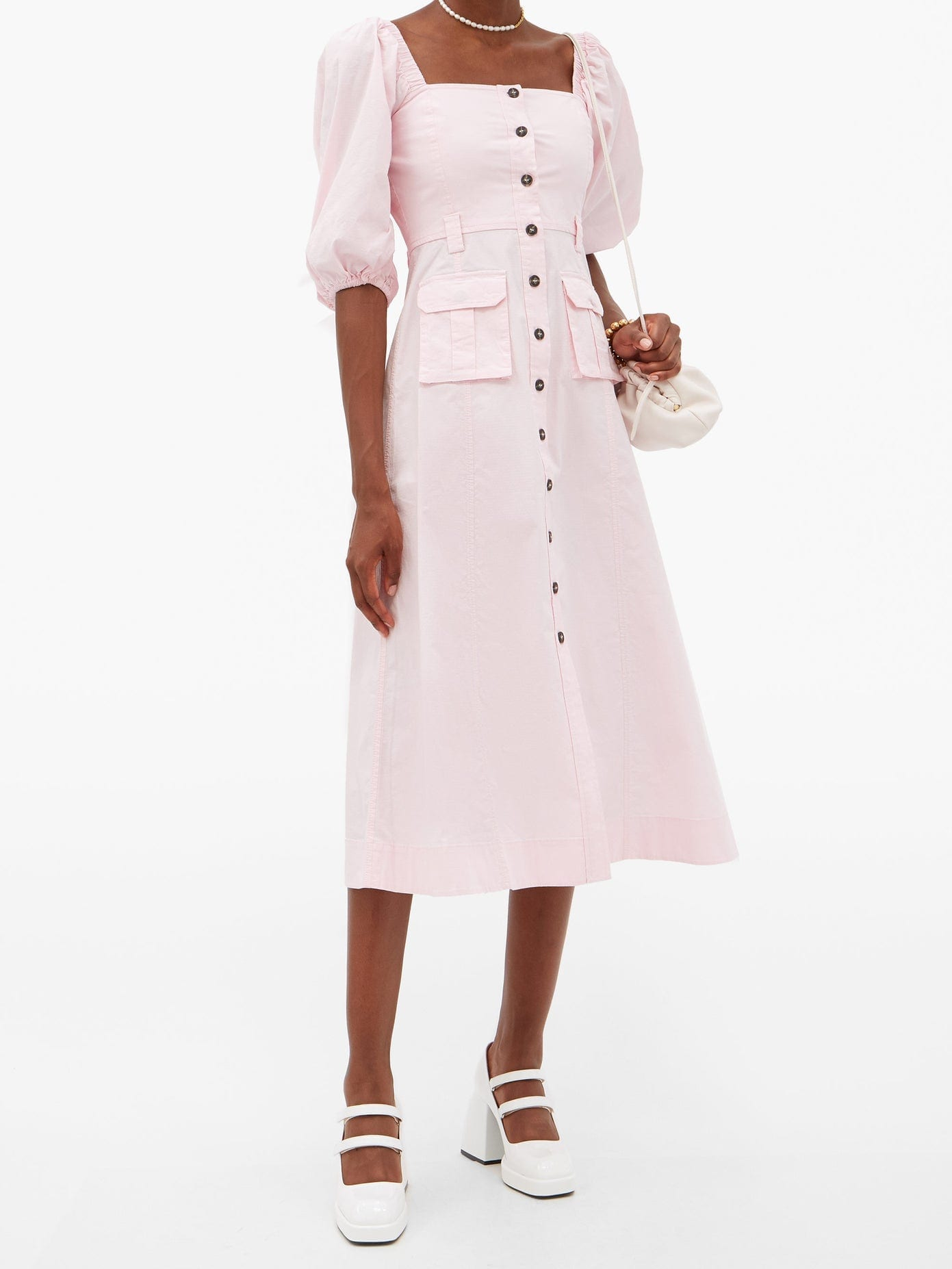 GANNI Puff-Sleeved Cotton-blend Midi Dress