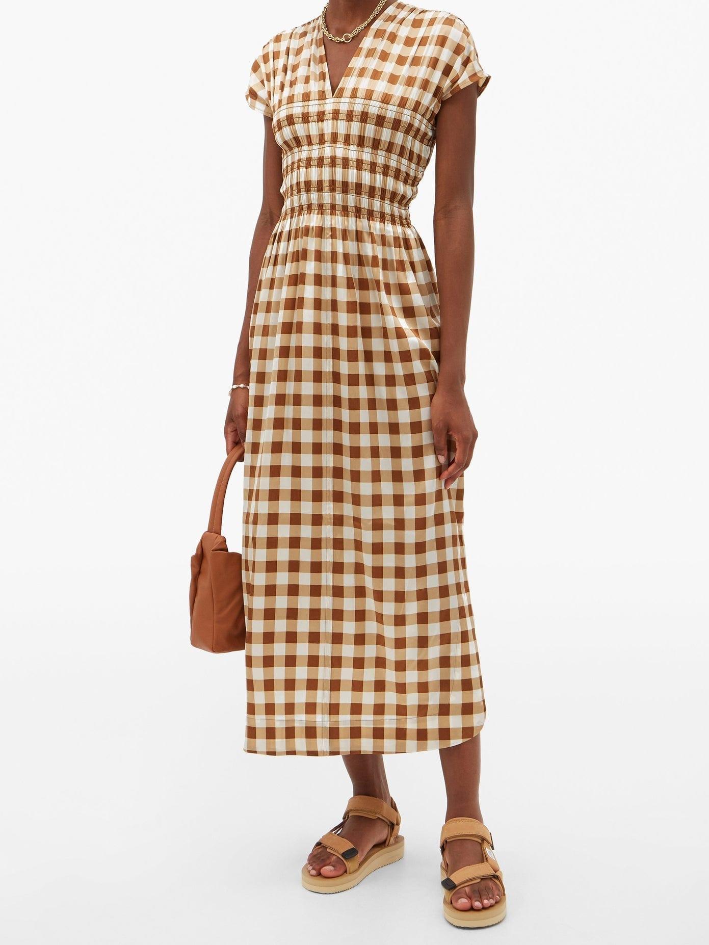 GANNI Shirred Gingham Silk-blend Crepe Dress