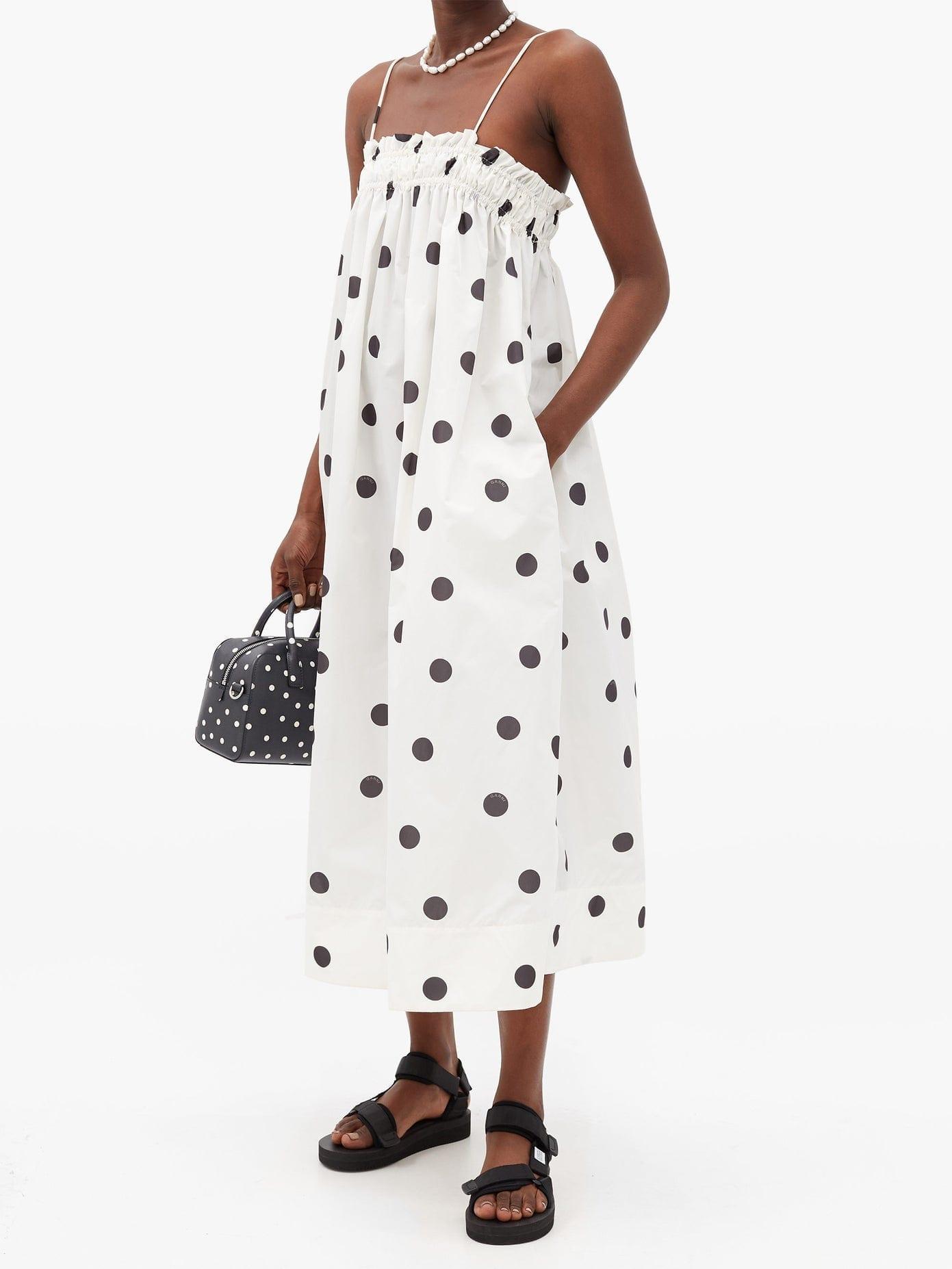 GANNI Shirred Polka-dot Shell Midi Dress