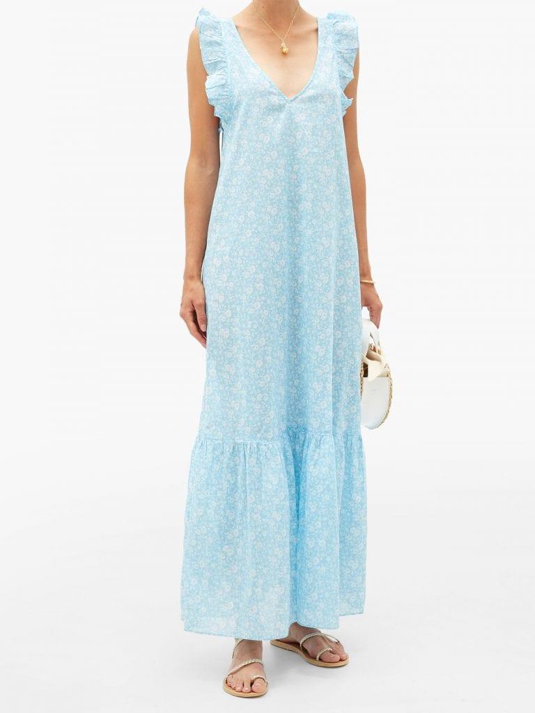 GANNI Tie-back Floral-print Cotton Maxi Dress