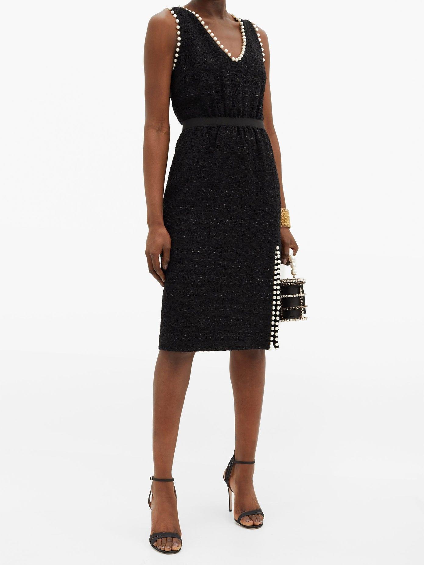 GIAMBATTISTA VALLI Faux Pearl-trimmed Cotton-blend Tweed Midi Dress