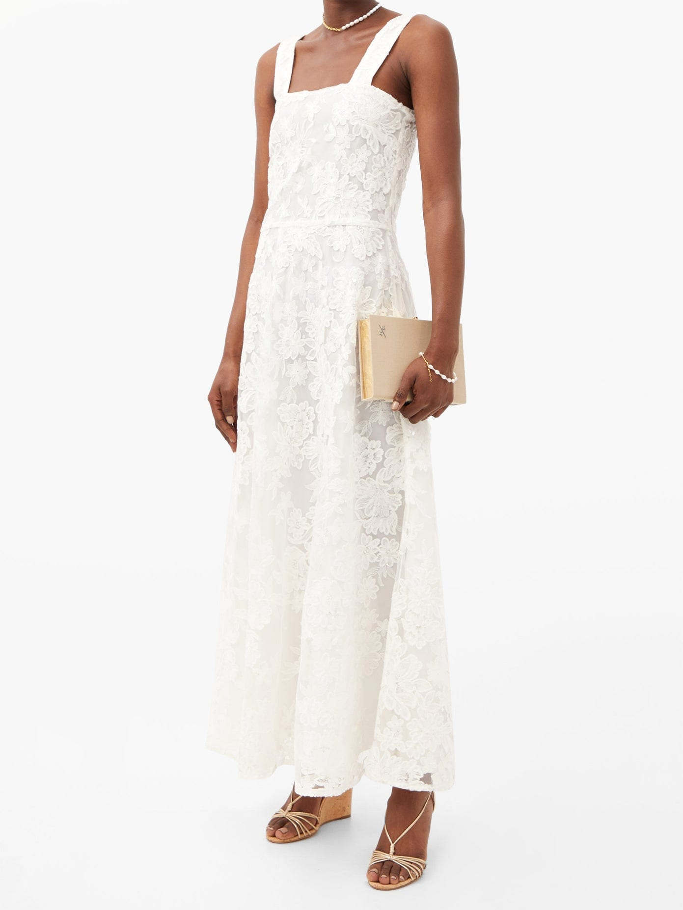 GIOIA BINI Lucinda Square-neck Macramé-lace Maxi Dress