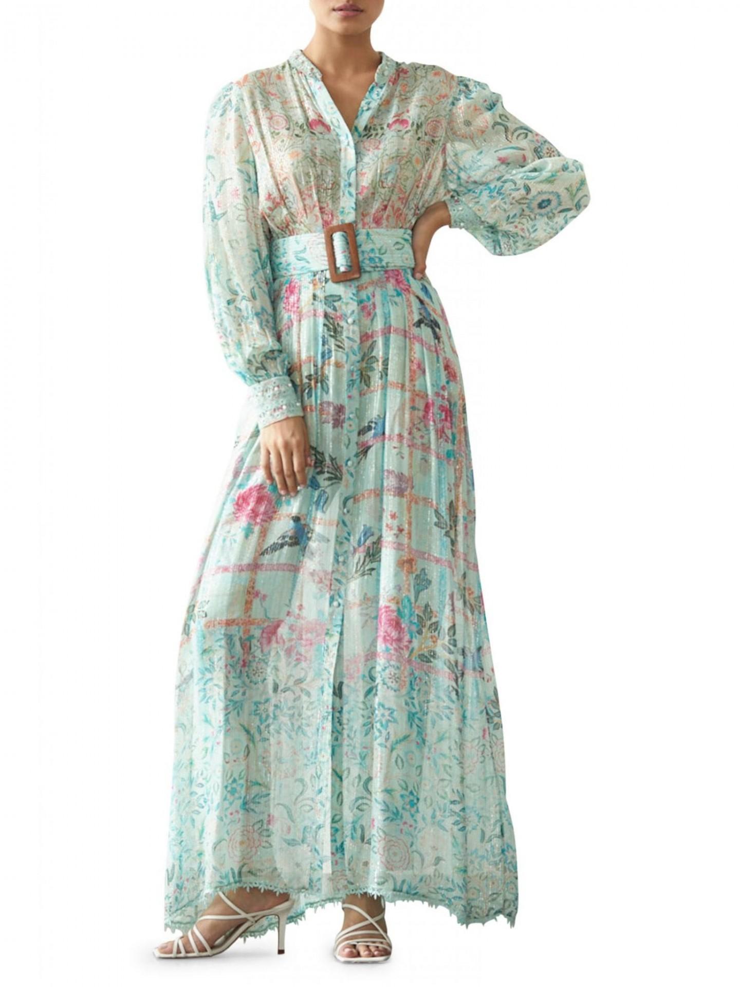 HEMANT & NANDITA Belted Long-Sleeve Dress