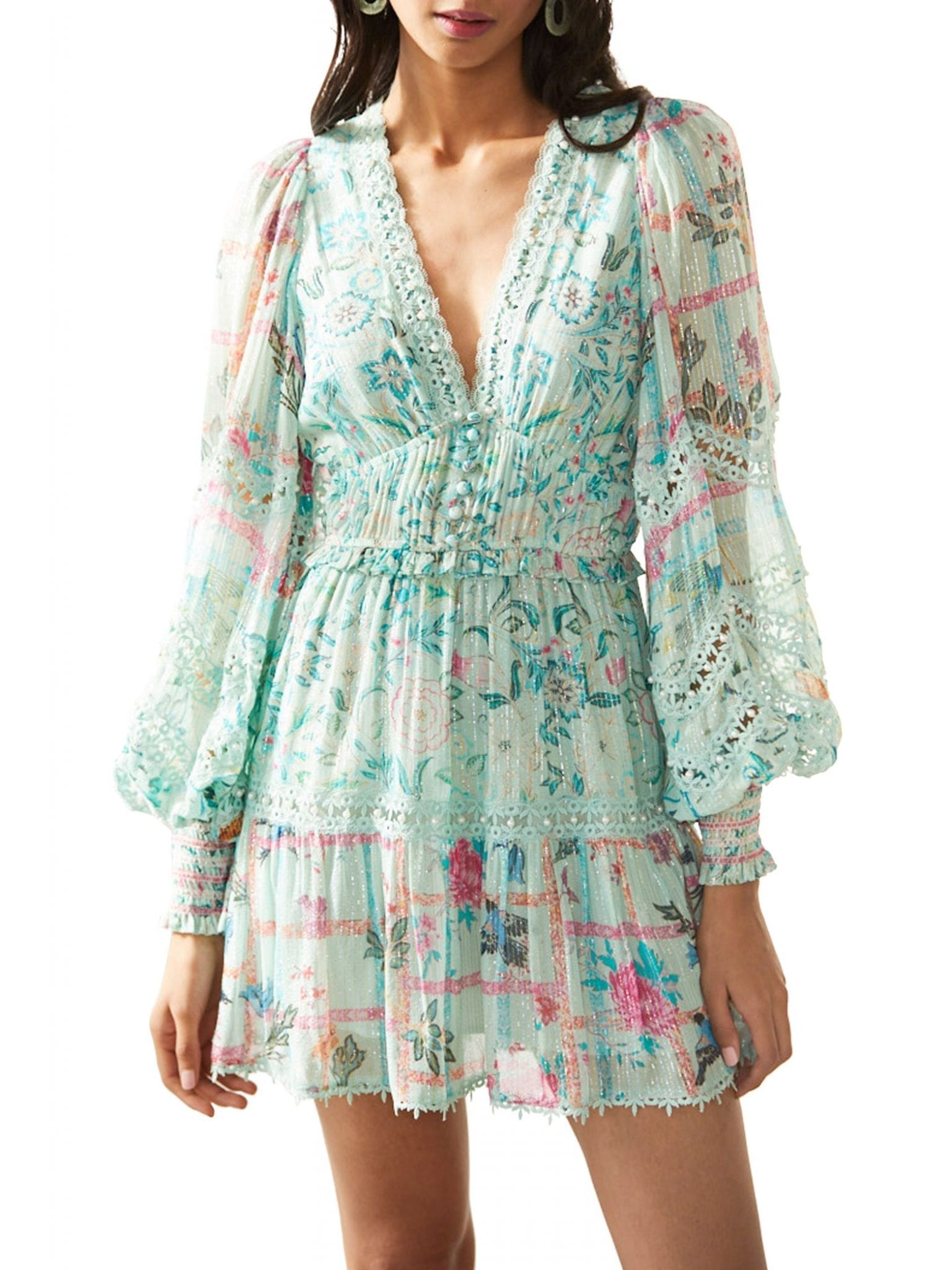 HEMANT & NANDITA V-Neck Blouson-Sleeve Dress