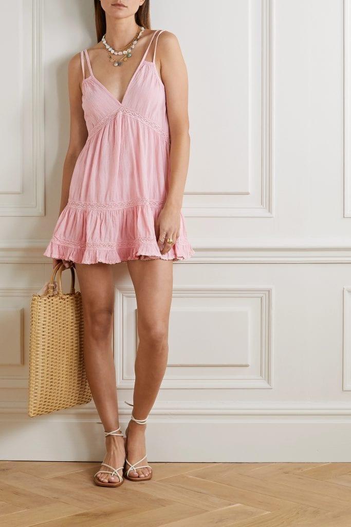 HONORINE India Crochet-trimmed Crinkled Cotton-gauze Mini Dress