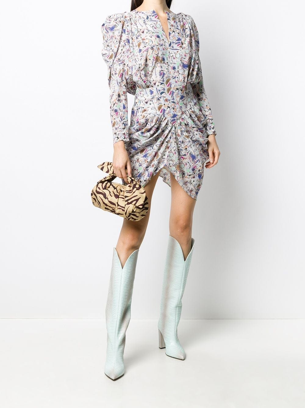 ISABEL MARANT Abstract Pattern Ruched Mini Dress