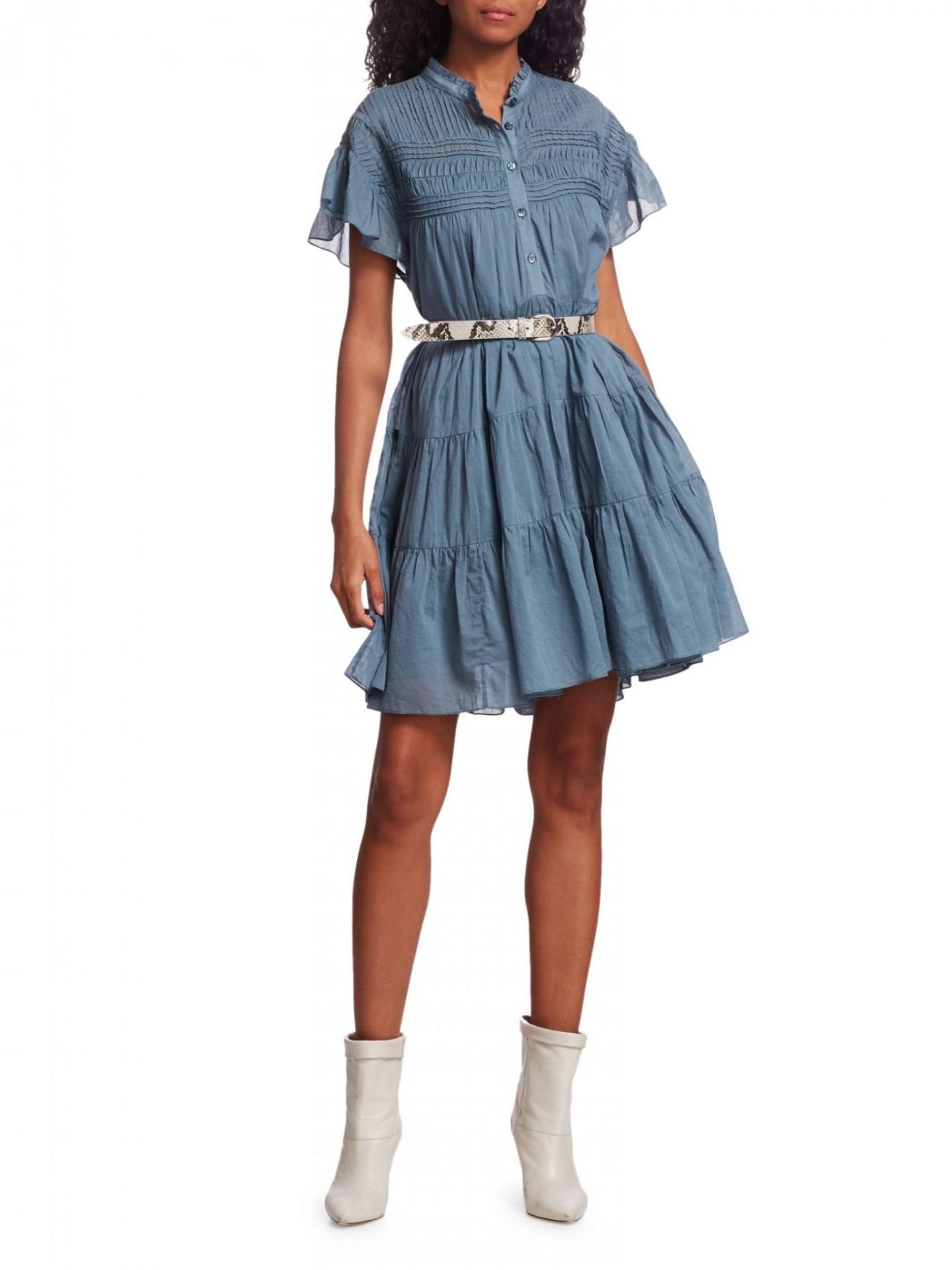 ISABEL MARANT ETOILE Lanikaye Chambray Ruffle A-Line Shirt Dress