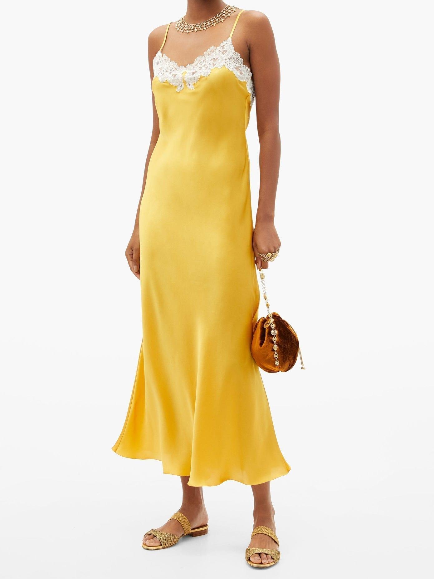 ISSIMO X LORETTA CAPONI Lace-trimmed Silk-charmeuse Slip Dress