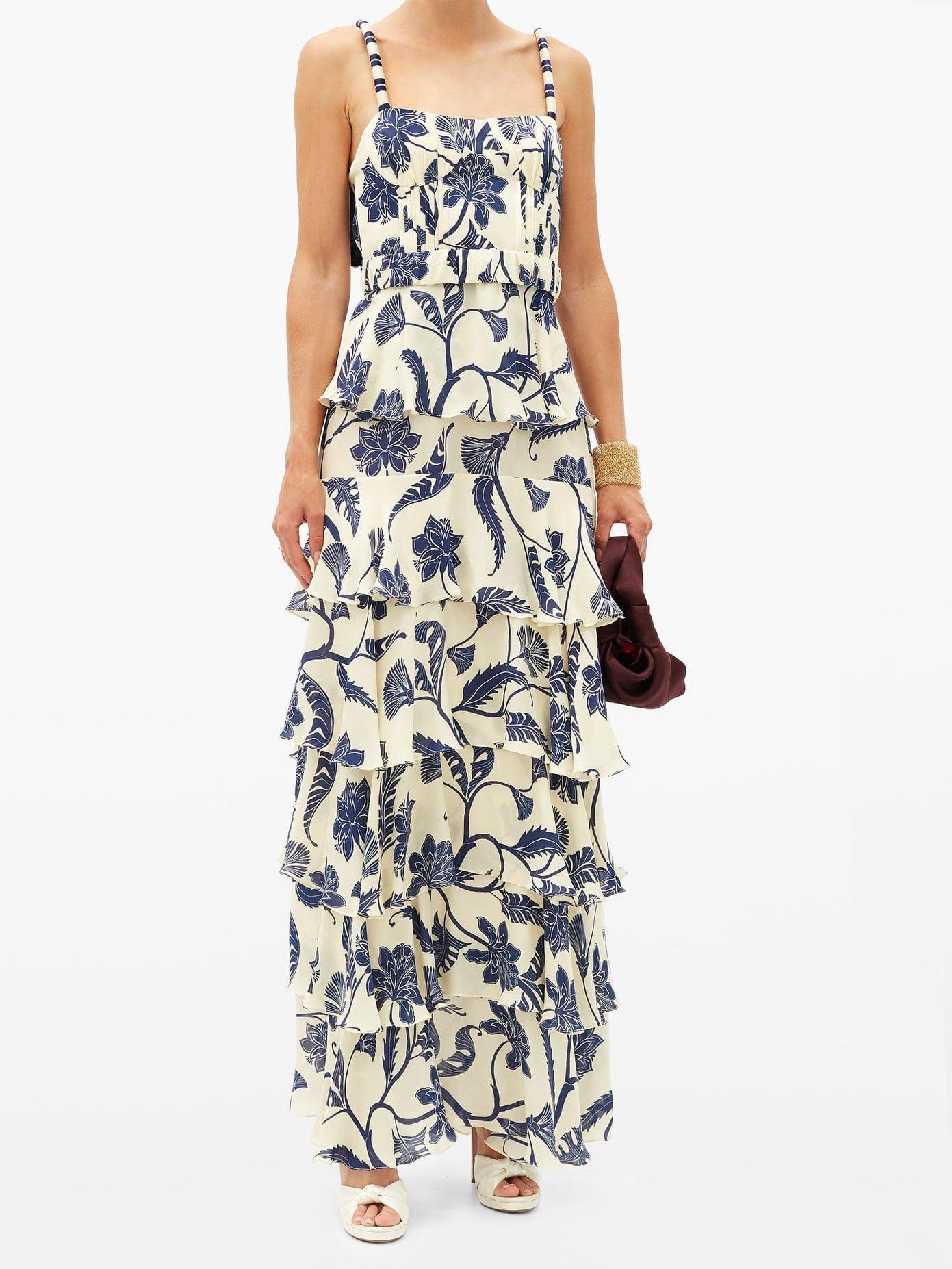JOHANNA ORTIZ Cat Goddess Tiered Floral-print Silk-blend Dress