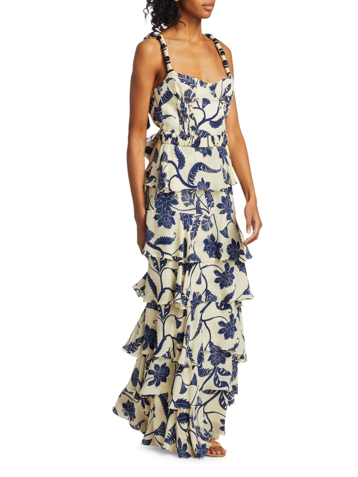 JOHANNA ORTIZ Cat Goddess Tiered Silk Maxi Dress