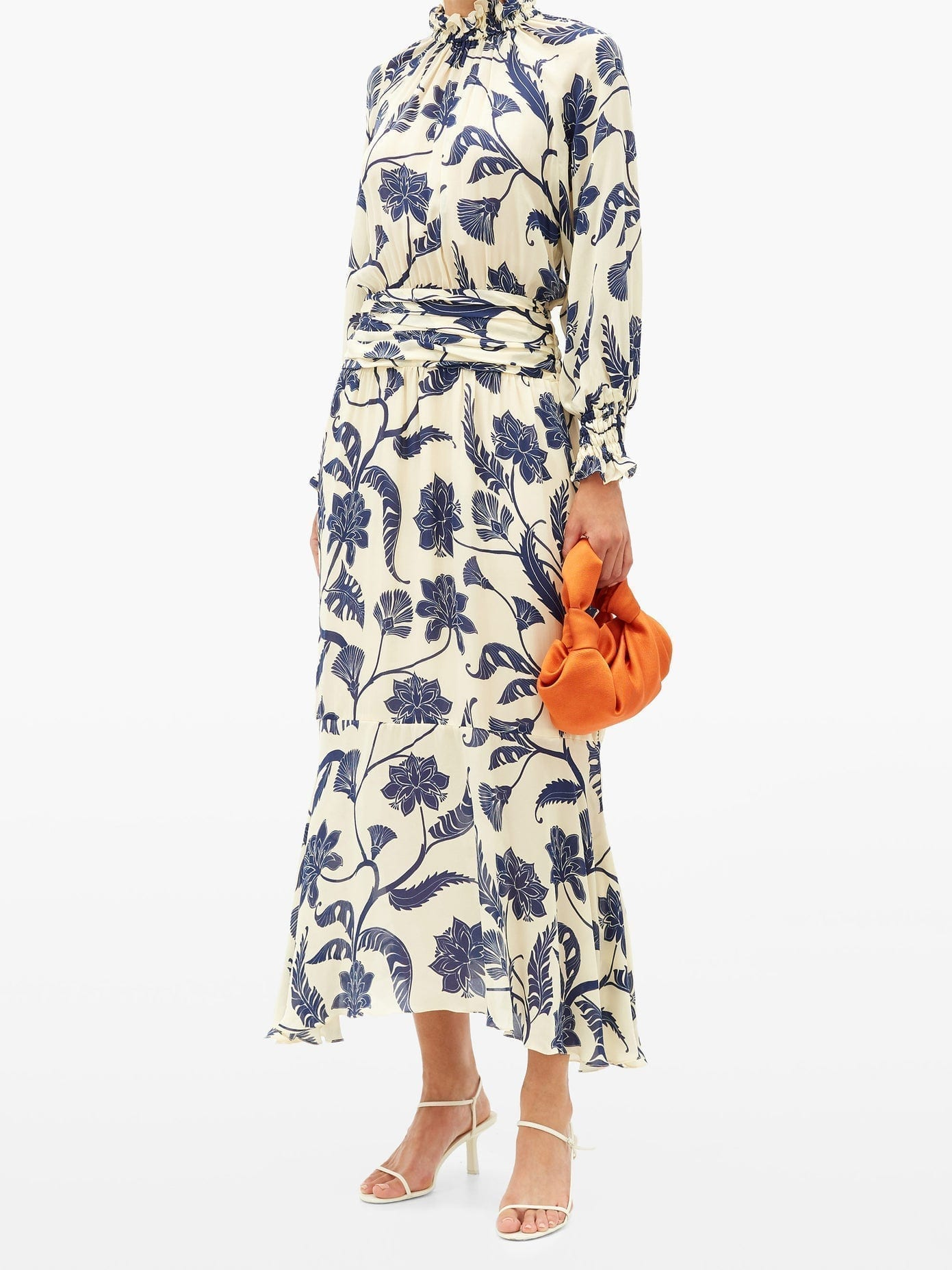 JOHANNA ORTIZ Sacred Writing Floral-print Silk Midi Dress
