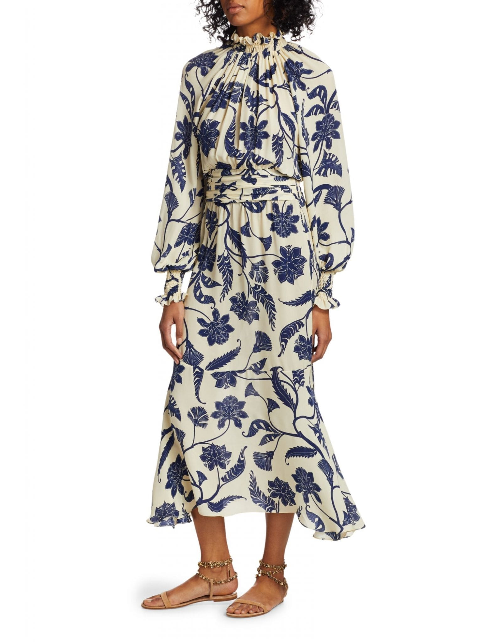 JOHANNA ORTIZ Sacred Writing Silk Midi Dress