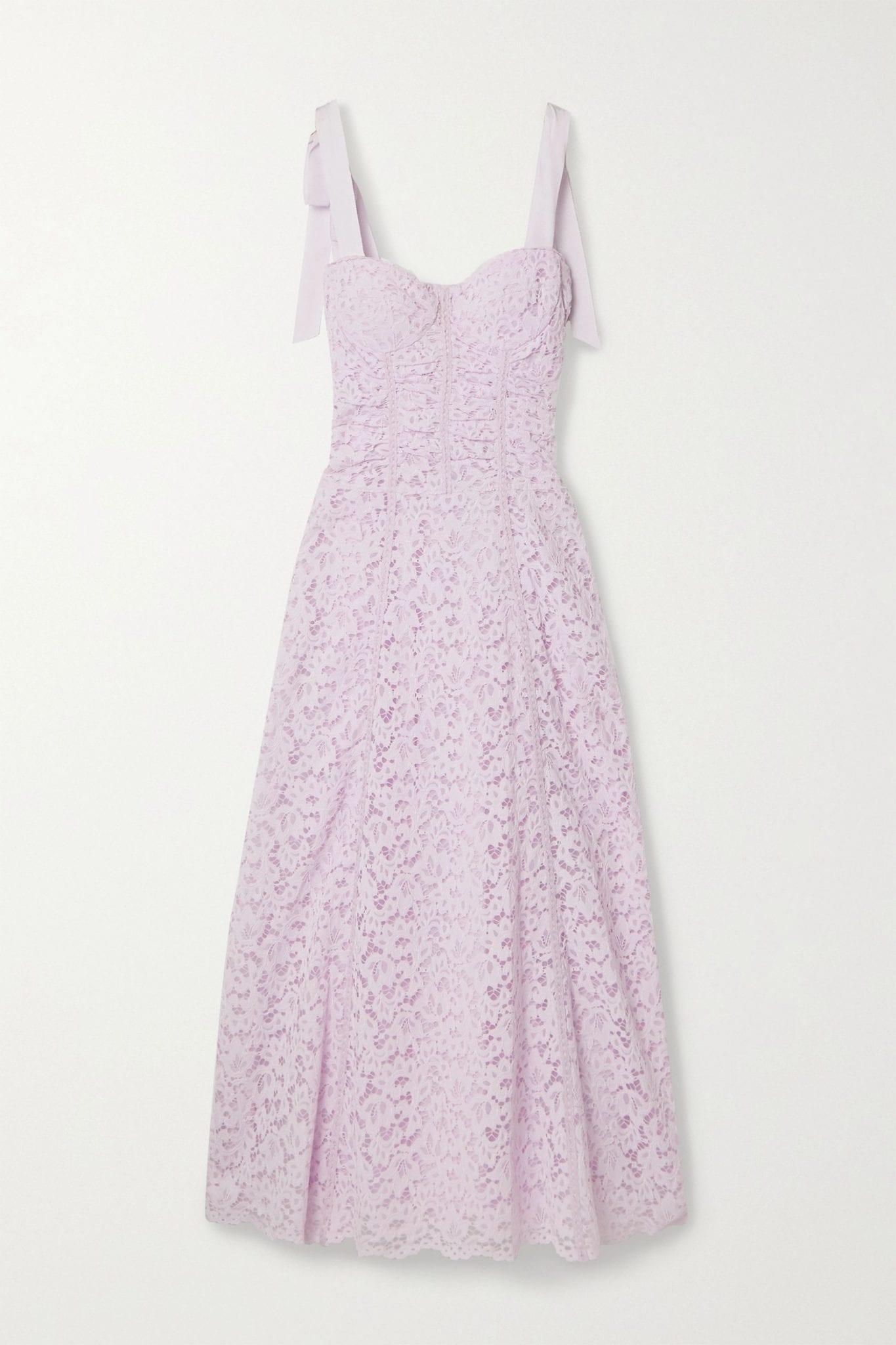 JONATHAN SIMKHAI Grosgrain-trimmed Corded Lace Midi Dress