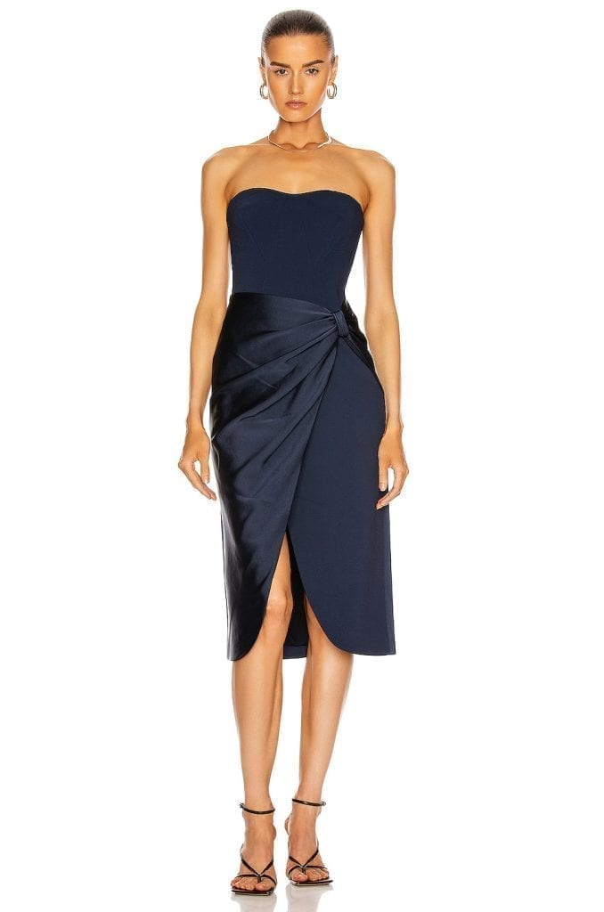 JONATHAN SIMKHAI Spencer Combo Strapless Wrap Dress