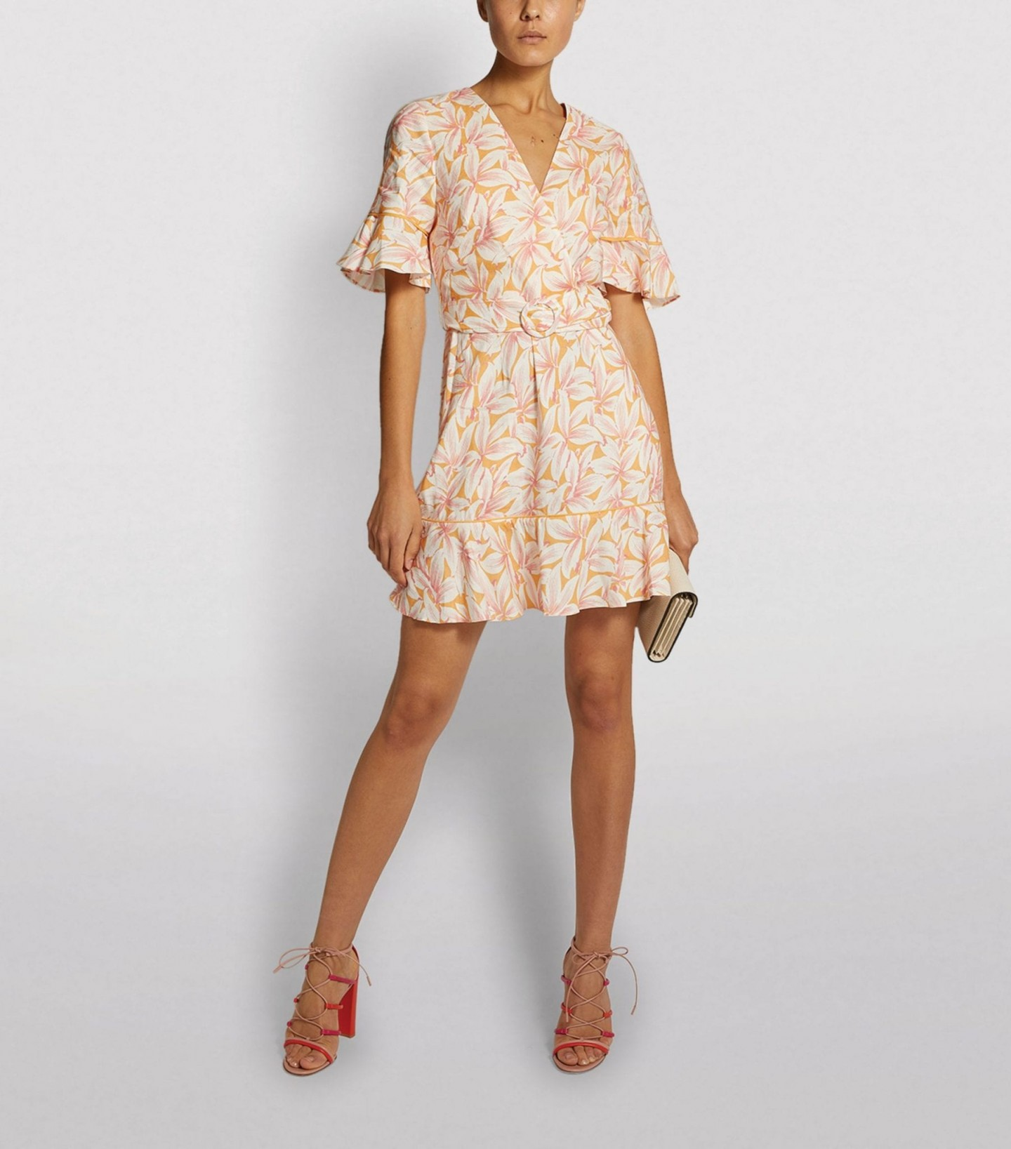 JONATHAN SIMKHAI Zoey Floral Ruffled Midi Dress