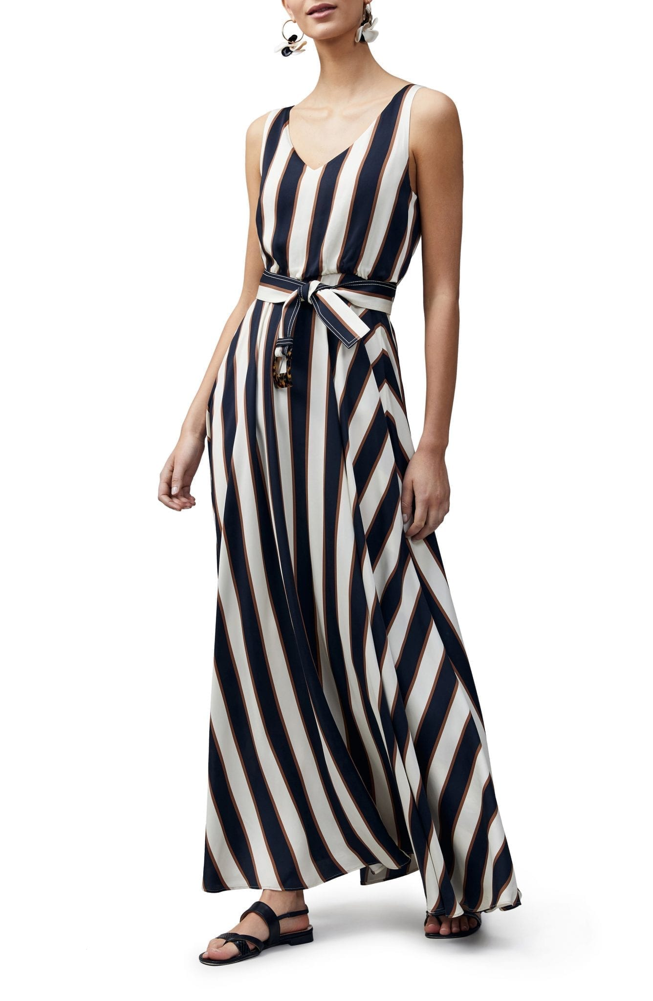 LAFAYETTE 148 NEW YORK Memphis Belted Stripe Maxi Dress