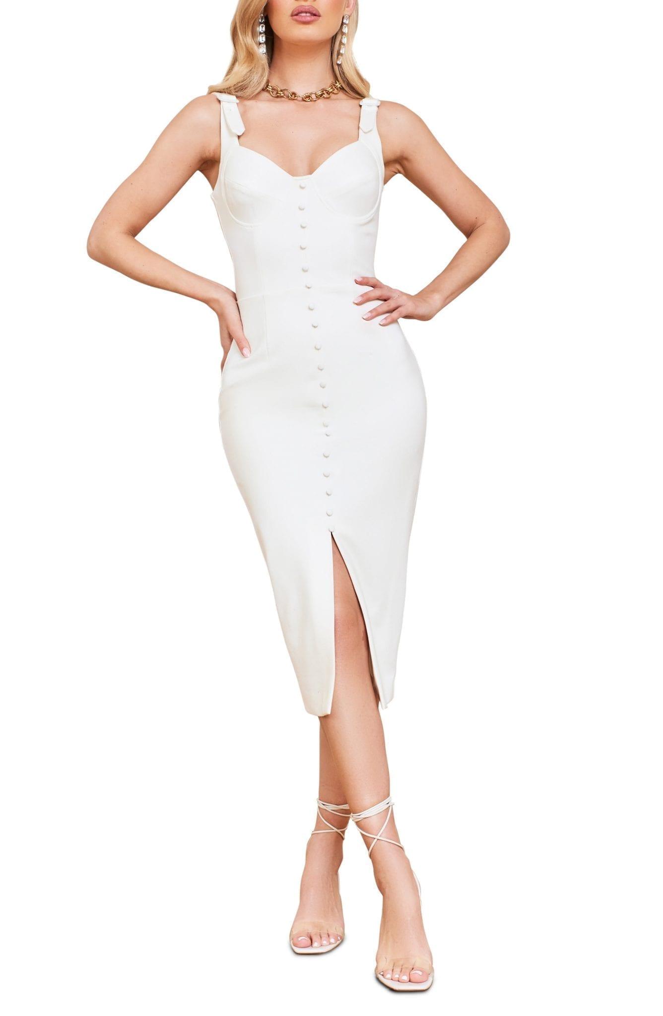 LAVISH ALICE Buckle Strap Underwire Midi Dress