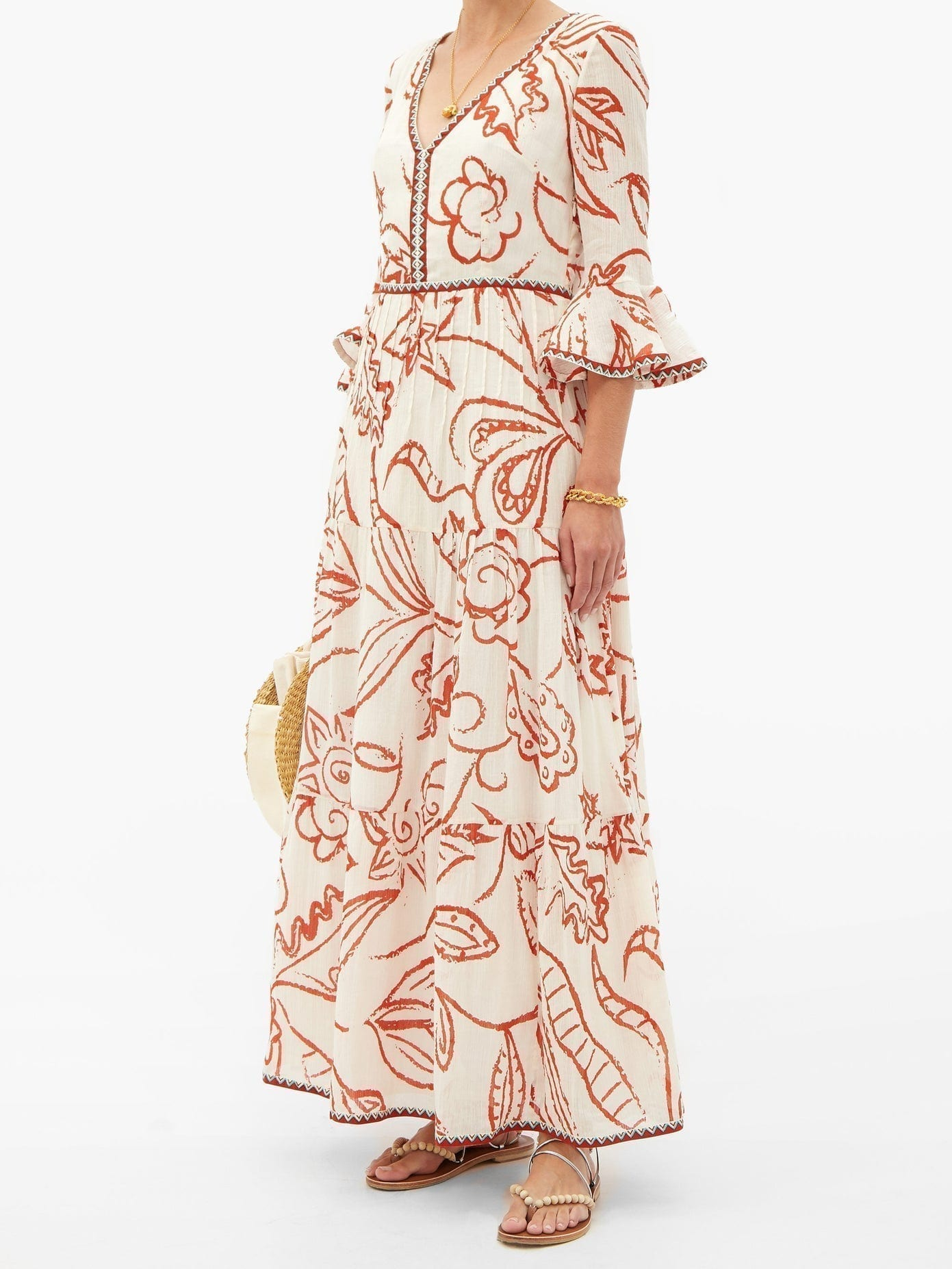 LE SIRENUSE POSITANO Bella Paisley-print Cotton-crepe Maxi Dress