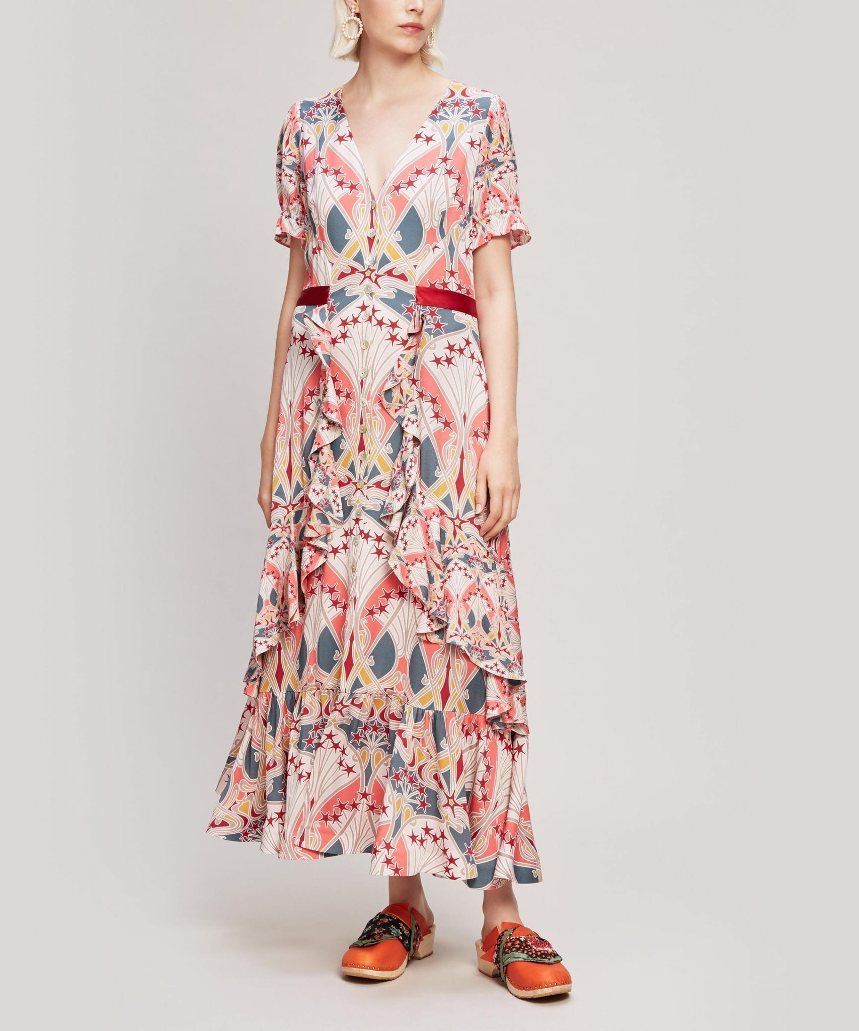 LIBERTY Étoile de Mer Crepe V-Neck Tea Dress