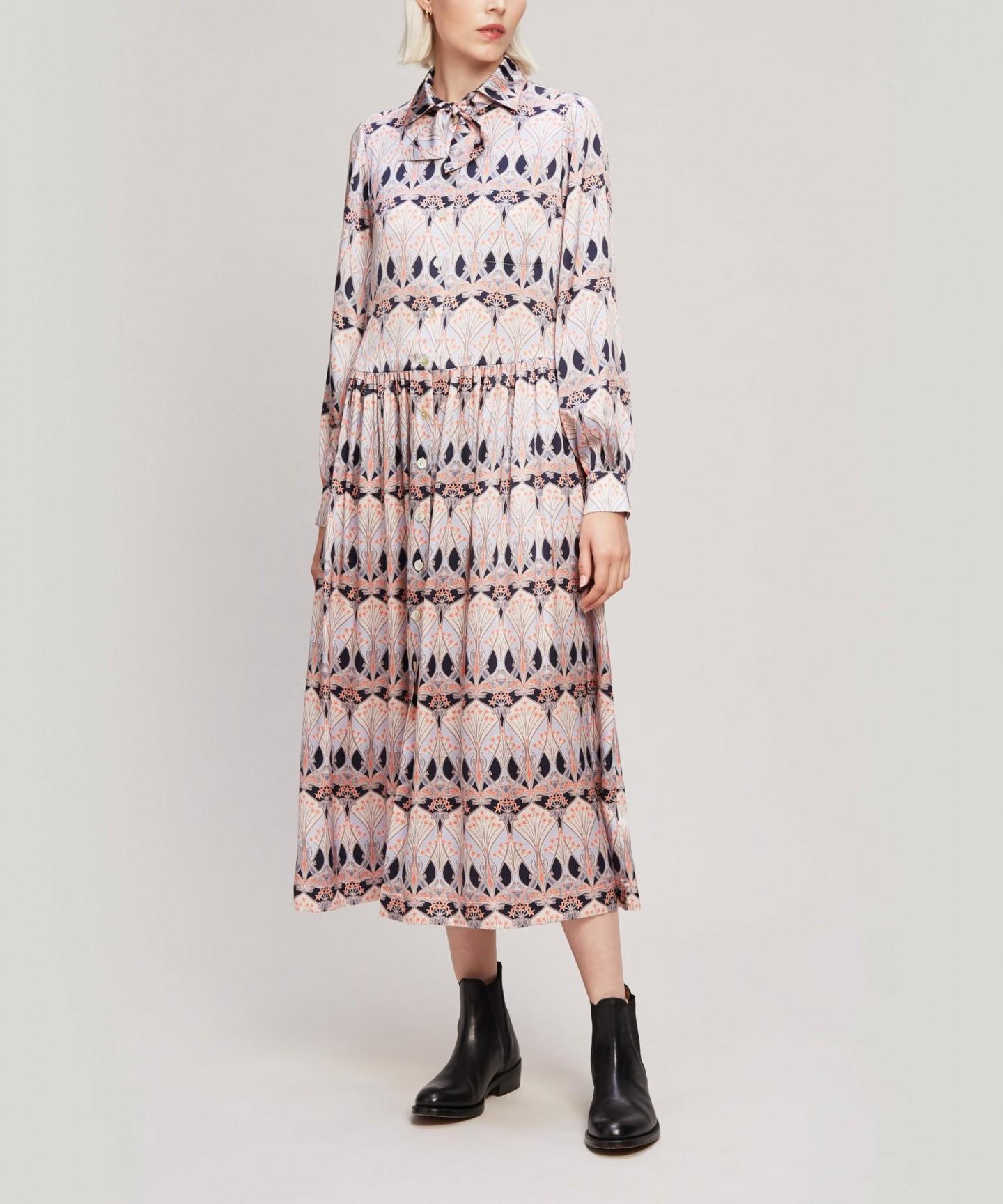 LIBERTY Étoile de Mer Silk Satin Shirt Dress
