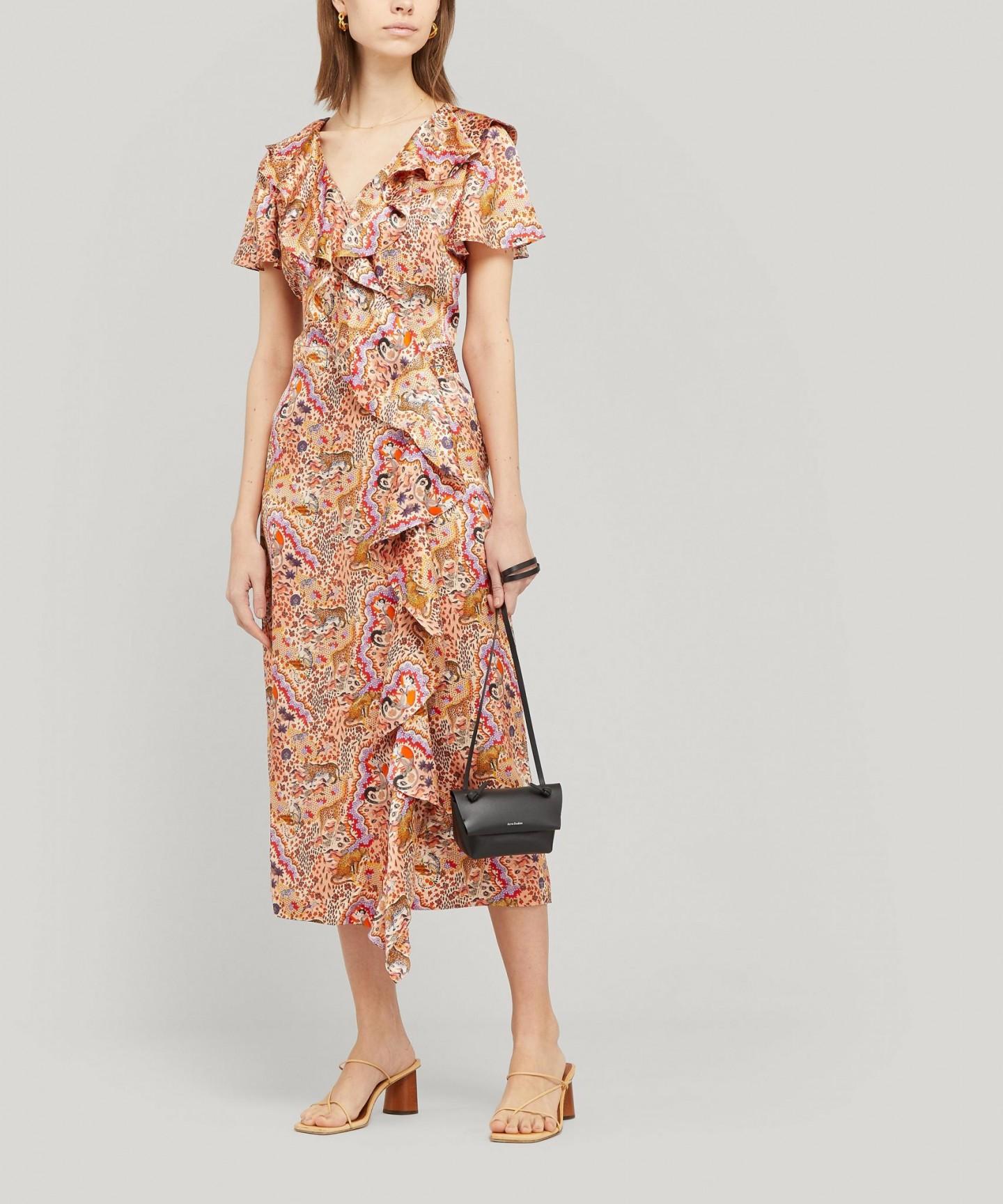 LIBERTY Maxine Silk Satin Ruffled Wrap Dress