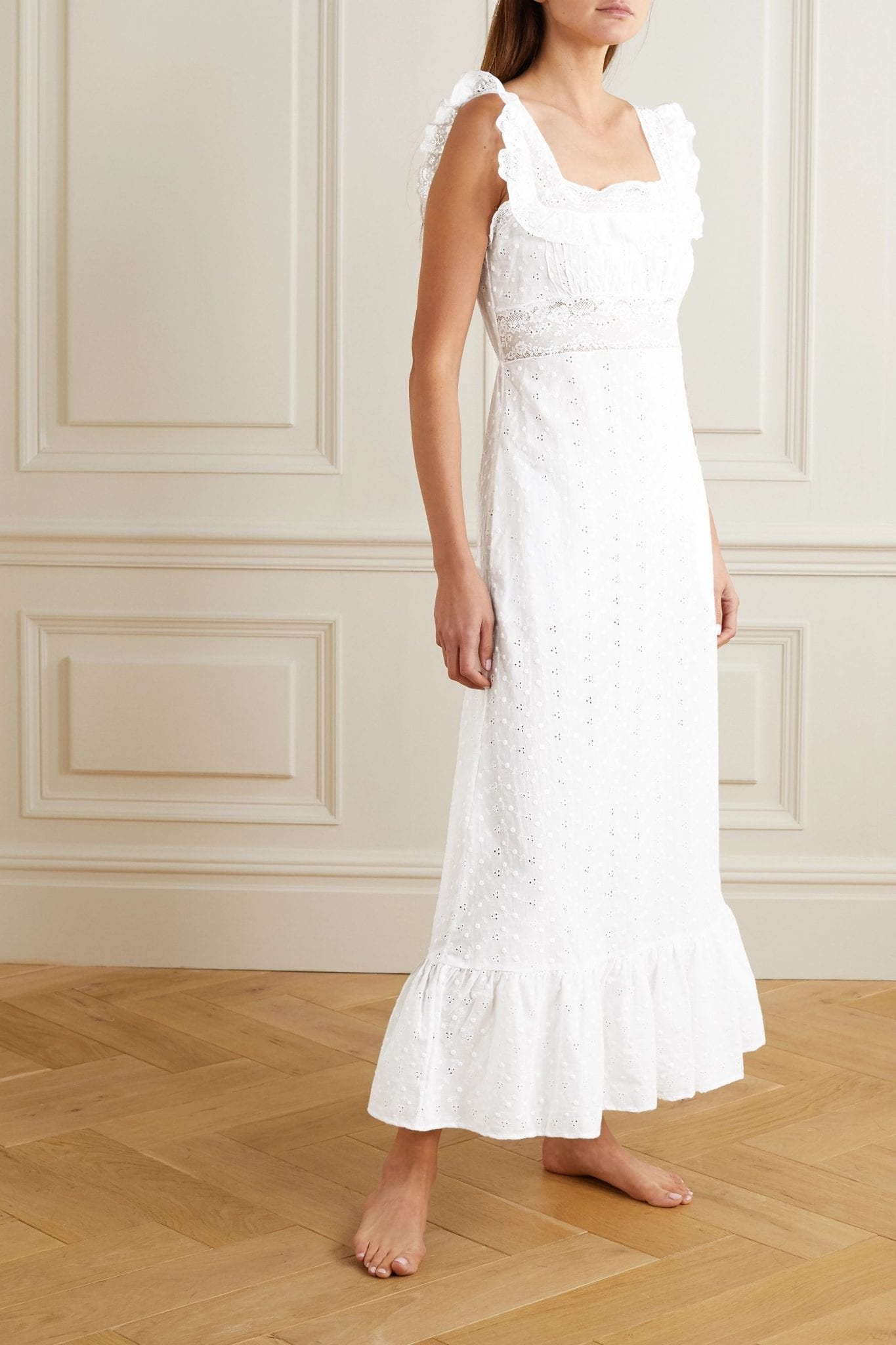 LORETTA CAPONI Margherita Lace-trimmed Broderie Anglaise Cotton-voile Night Dress