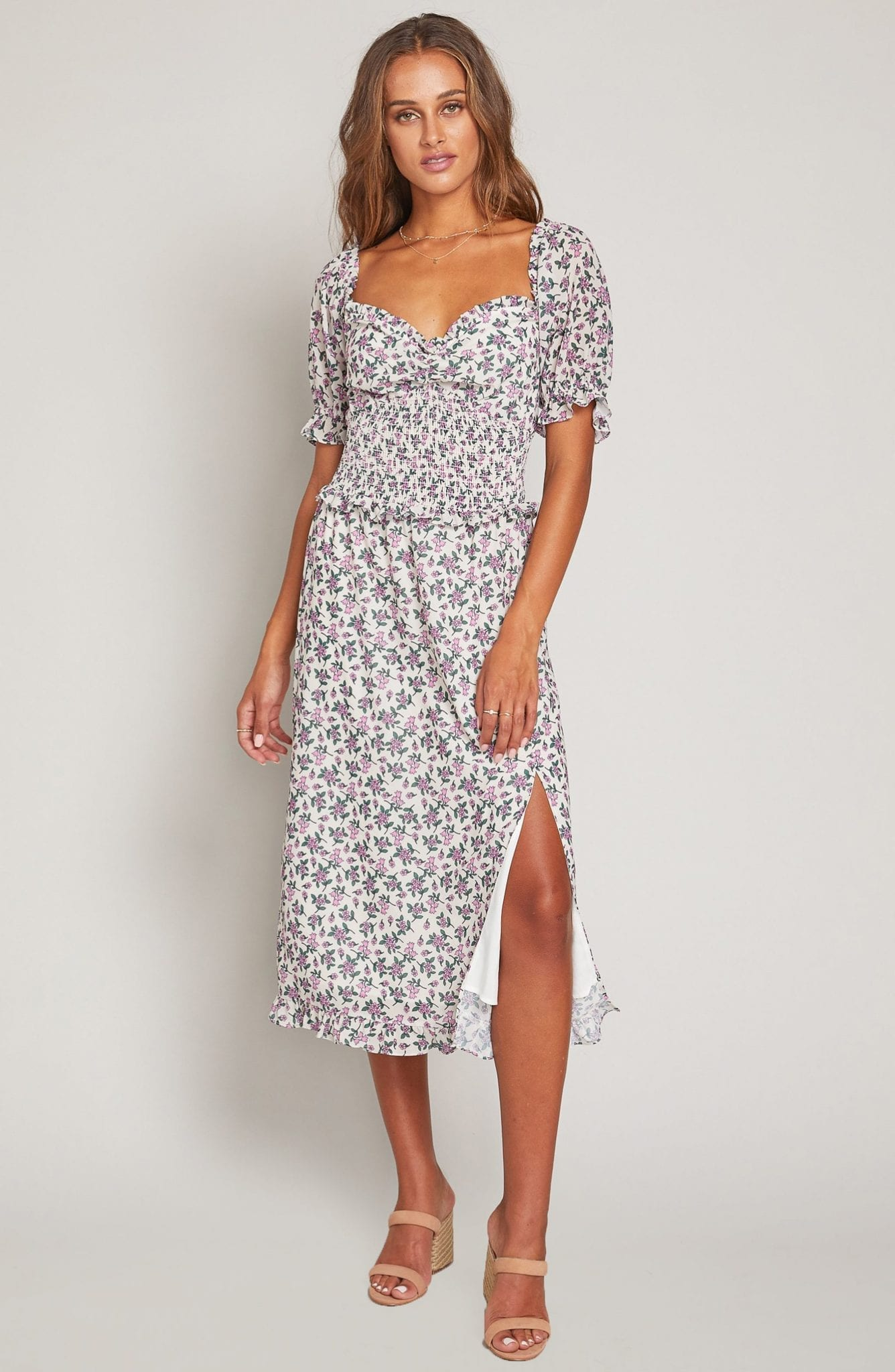 LOST + WANDER Garden Party Smocked Bodice Midi Dress