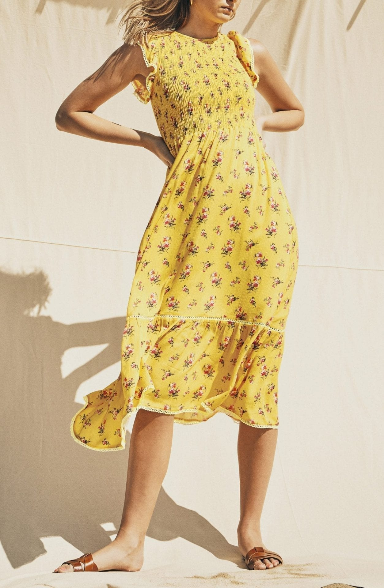 LOST + WANDER Mango Tango Floral Smocked Sun Dress