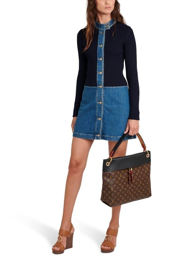 LOUIS VUITTON Stonewashed Denim Bi-Material Dress
