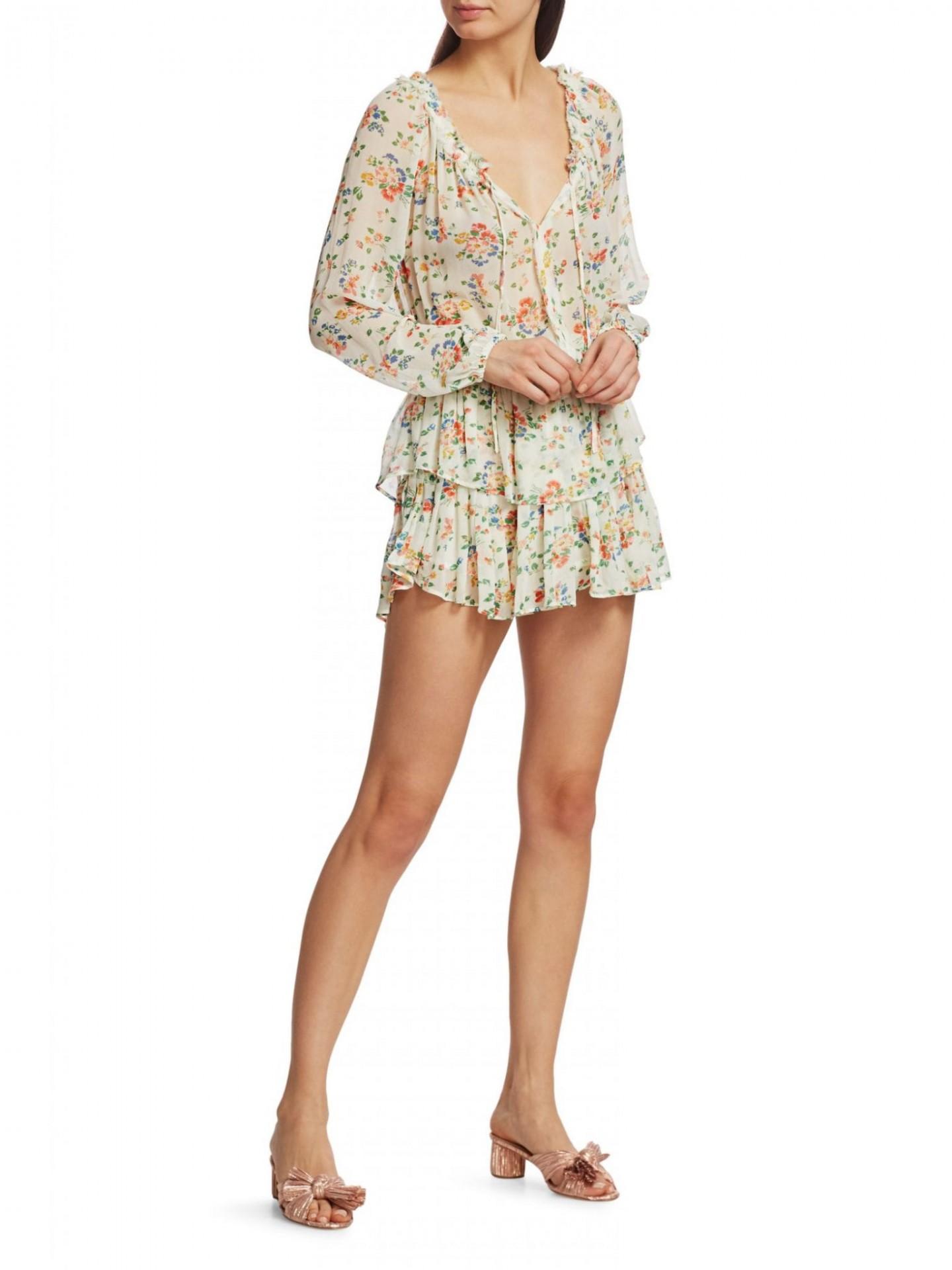 LOVESHACKFANCY Floral Popover Silk Dress
